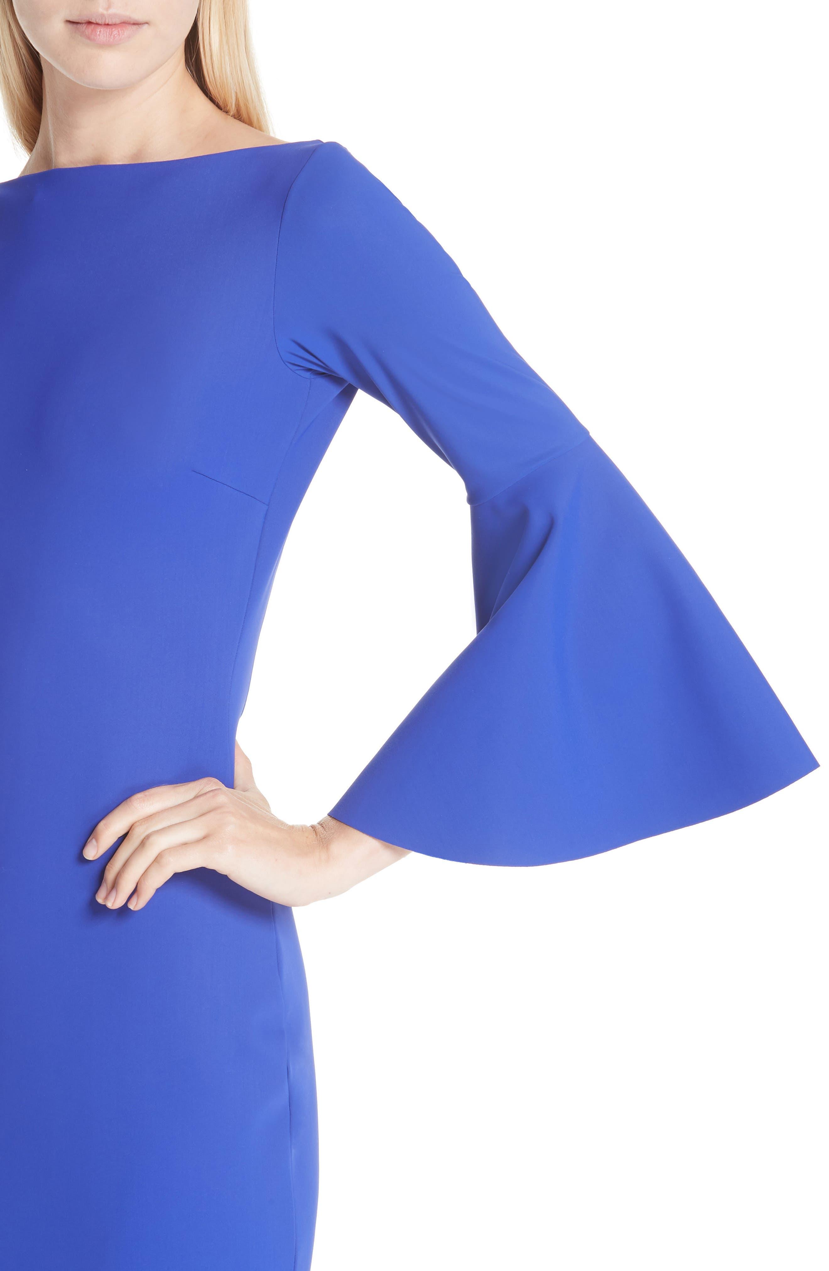 CHIARA BONI LA PETITE ROBE, Iva Bell Sleeve Evening Dress, Alternate thumbnail 6, color, INCHIOSTRO