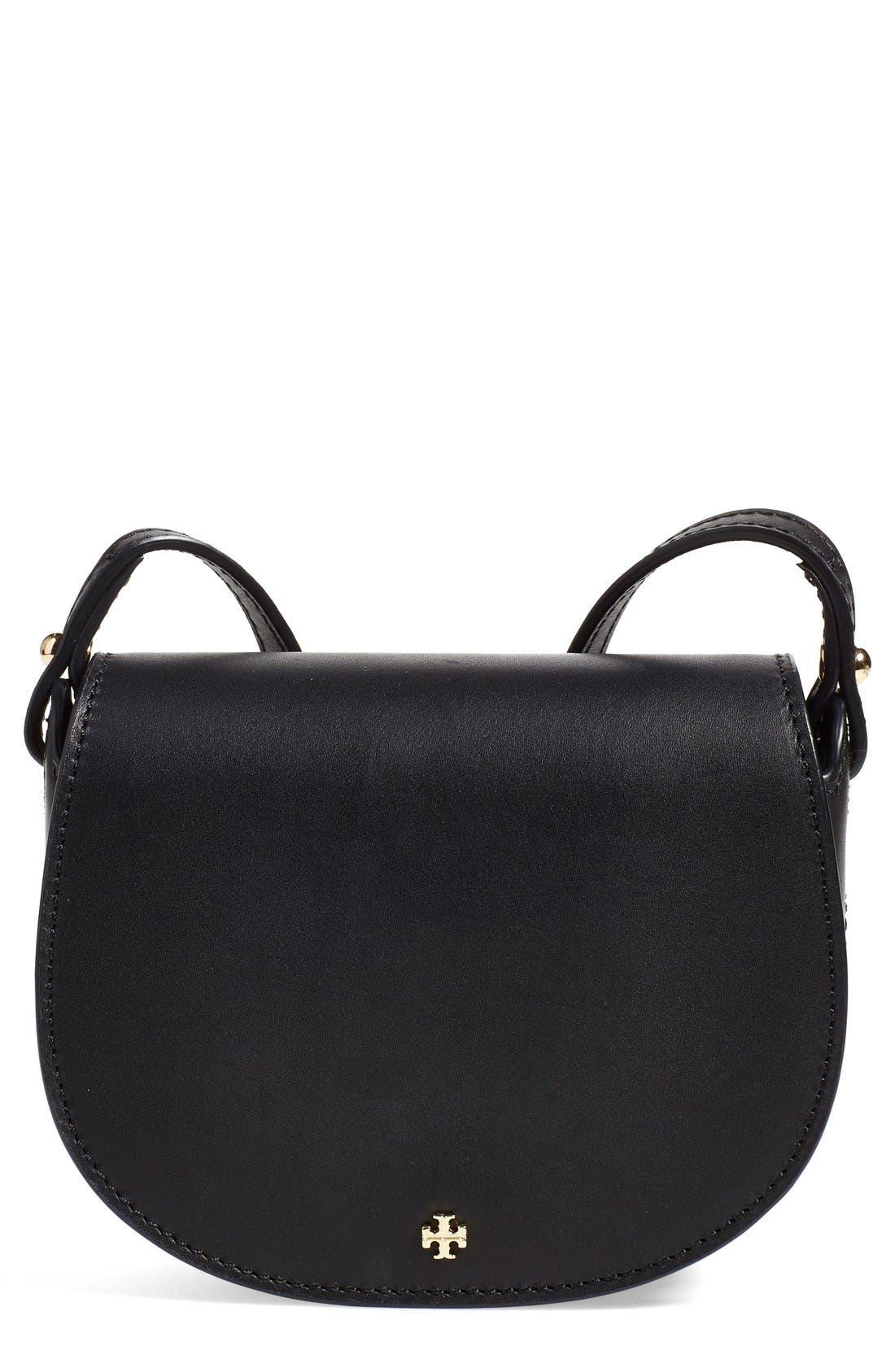 TORY BURCH, 'Mini' Leather Saddle Bag, Main thumbnail 1, color, 009