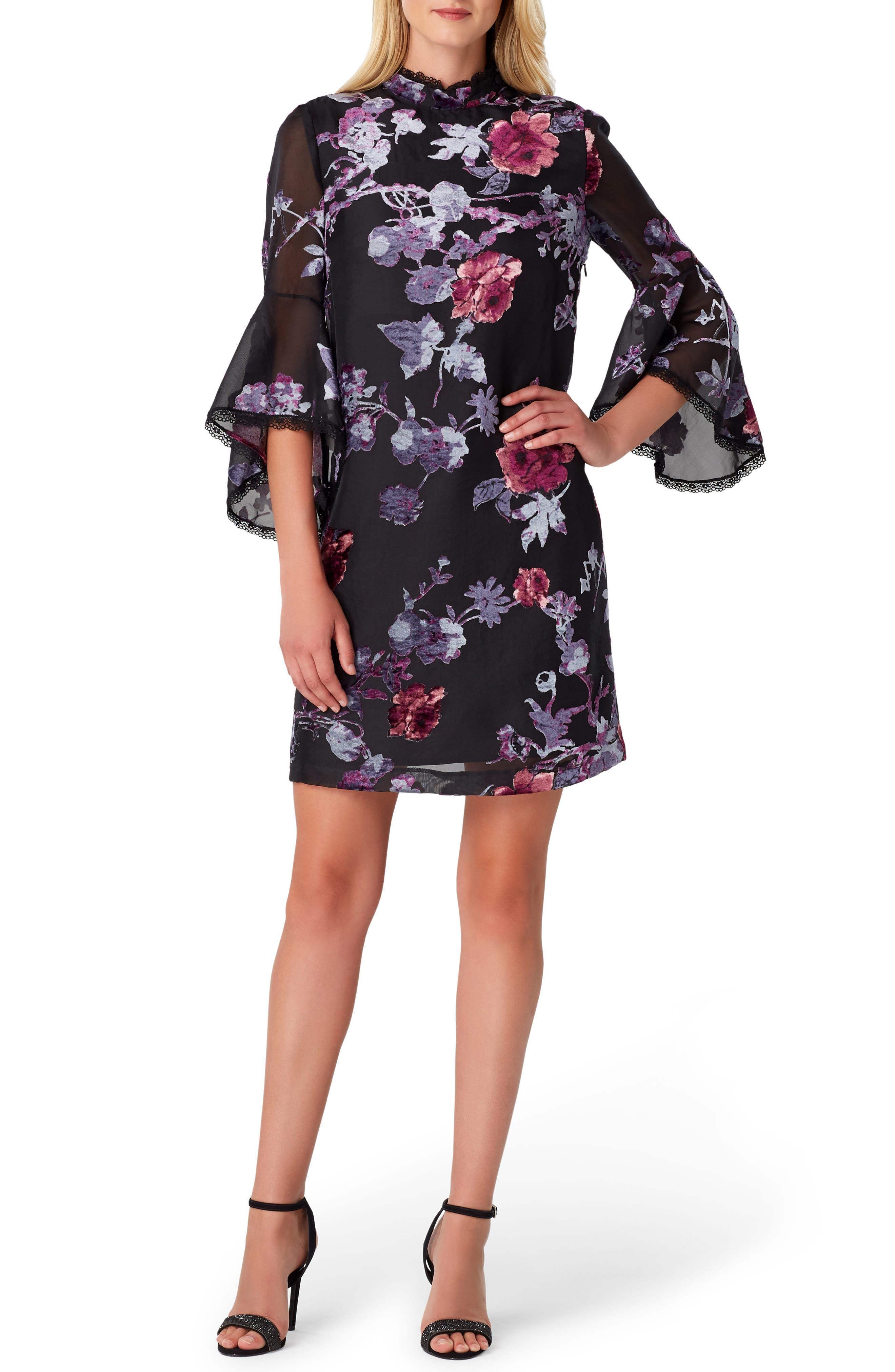 Petite Tahari Floral Burnout Bell Sleeve Shift Dress, Black