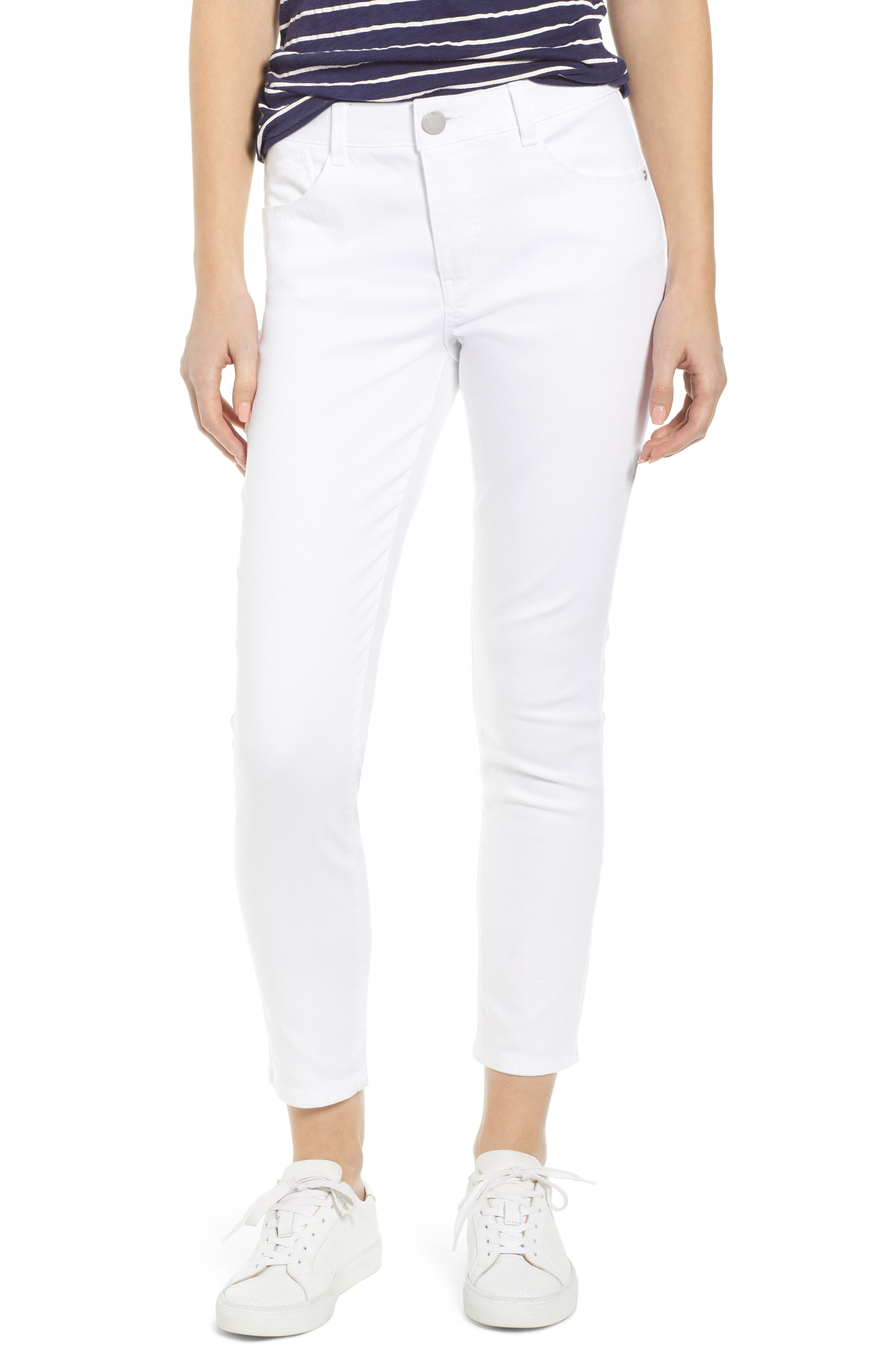 WIT & WISDOM, Ab-Solution High Waist Ankle Skinny Jeans, Main thumbnail 1, color, OPTIC WHITE