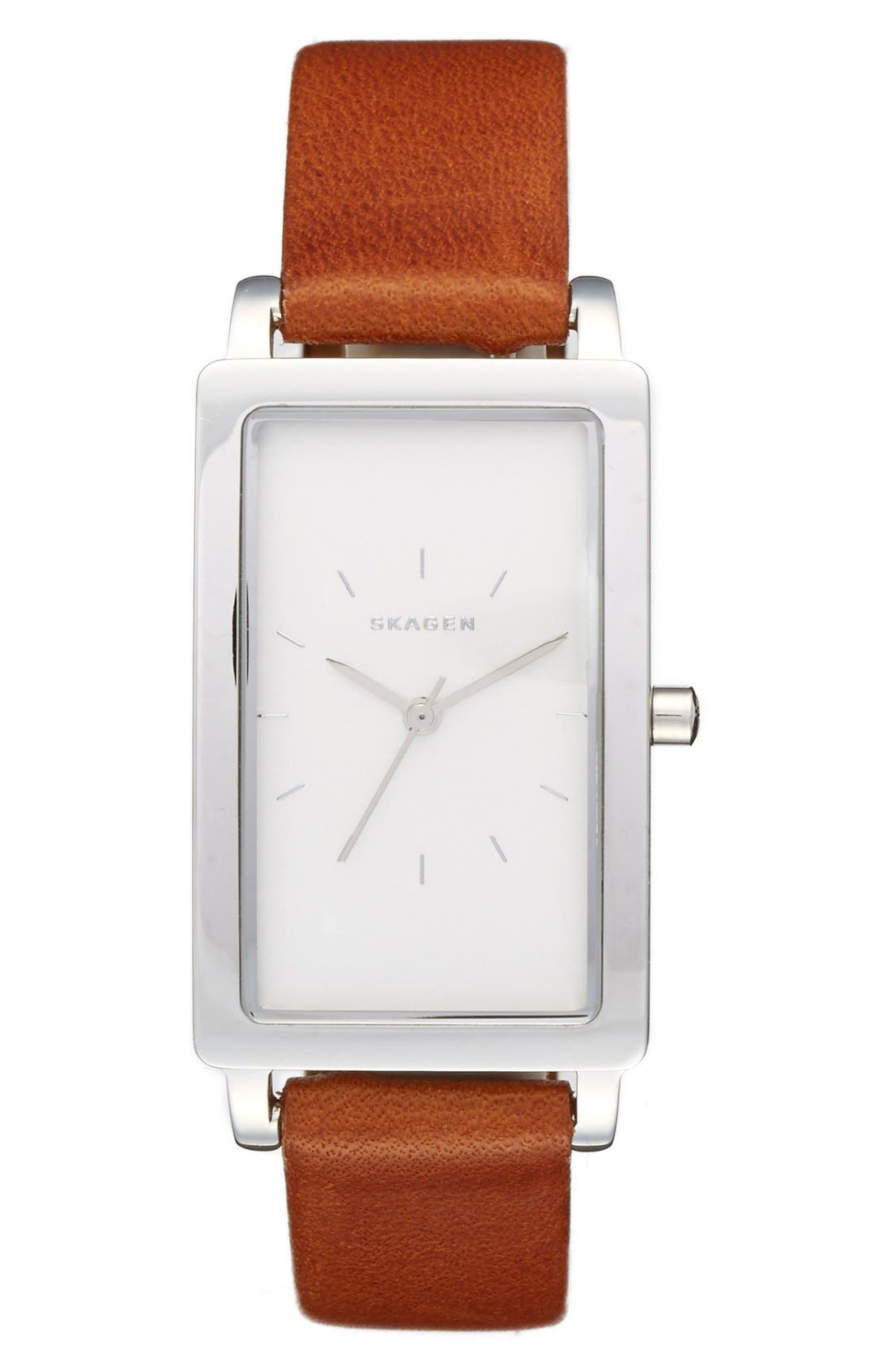 SKAGEN, 'Hagen' Leather Strap Watch, 22mm x 43mm, Main thumbnail 1, color, 200