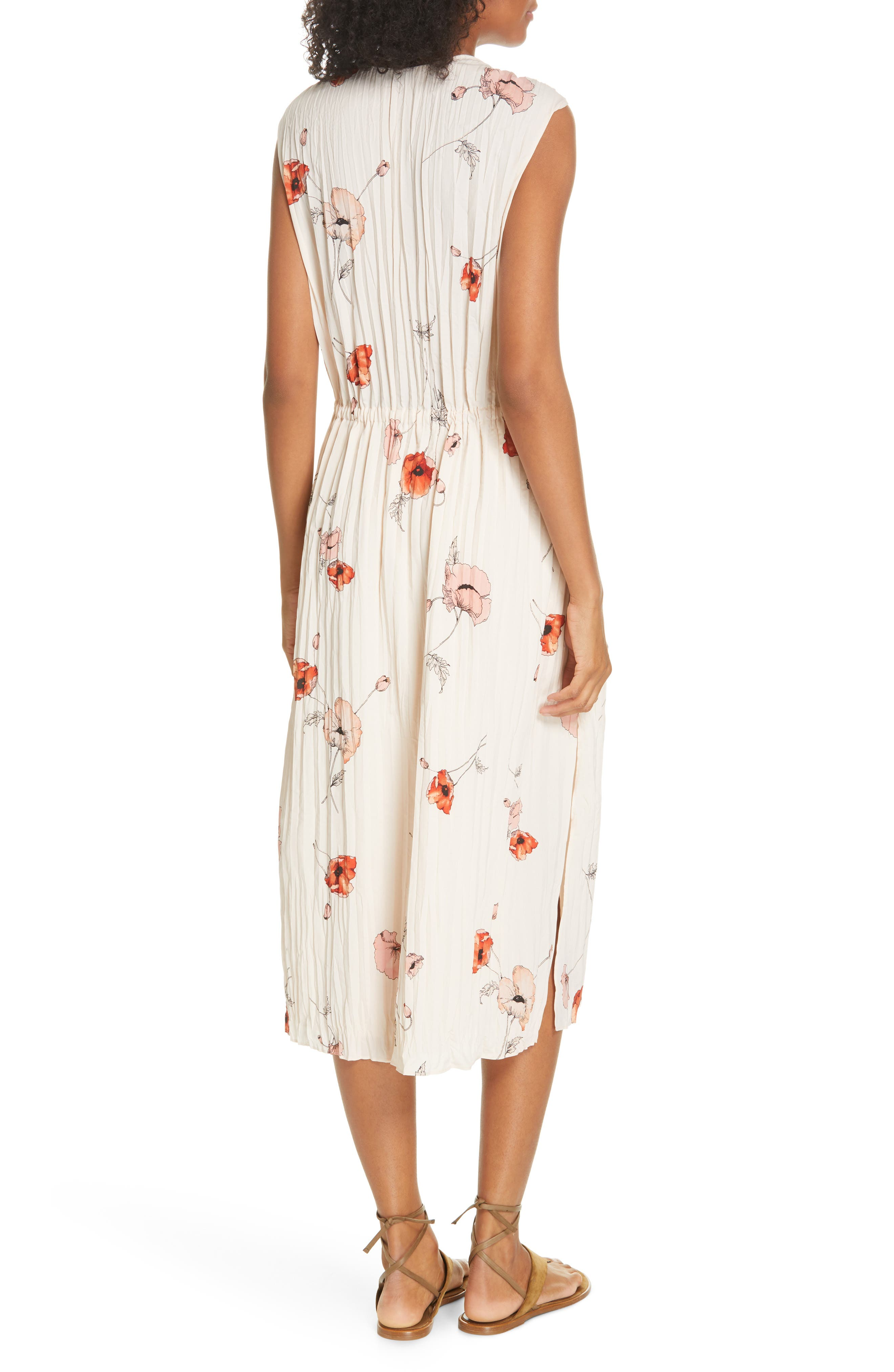 VINCE, Tossed Poppy Pleated Midi Dress, Alternate thumbnail 2, color, PALE BLUSH