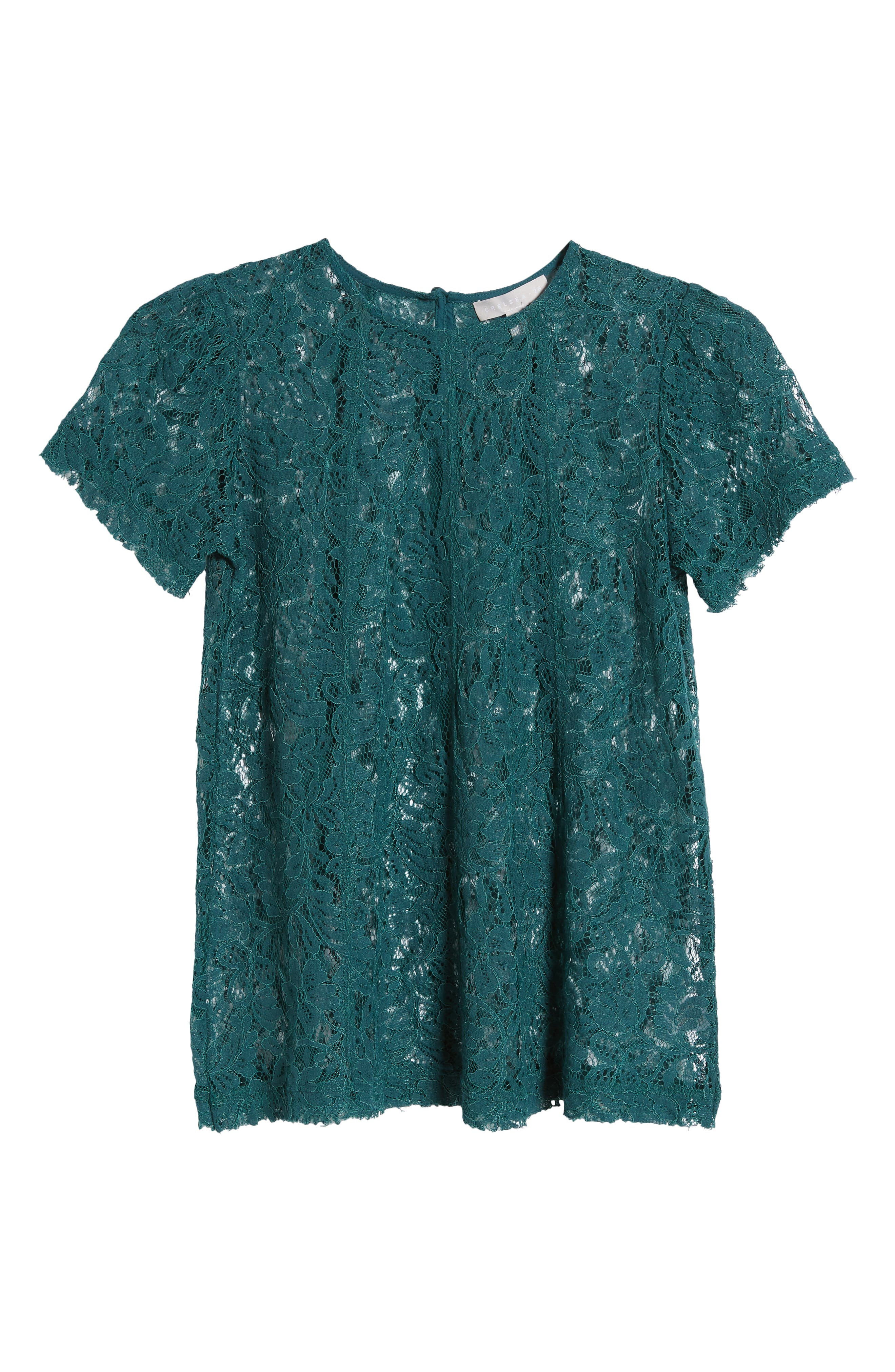 CHELSEA28, Lace Top, Alternate thumbnail 6, color, TEAL BALSAM