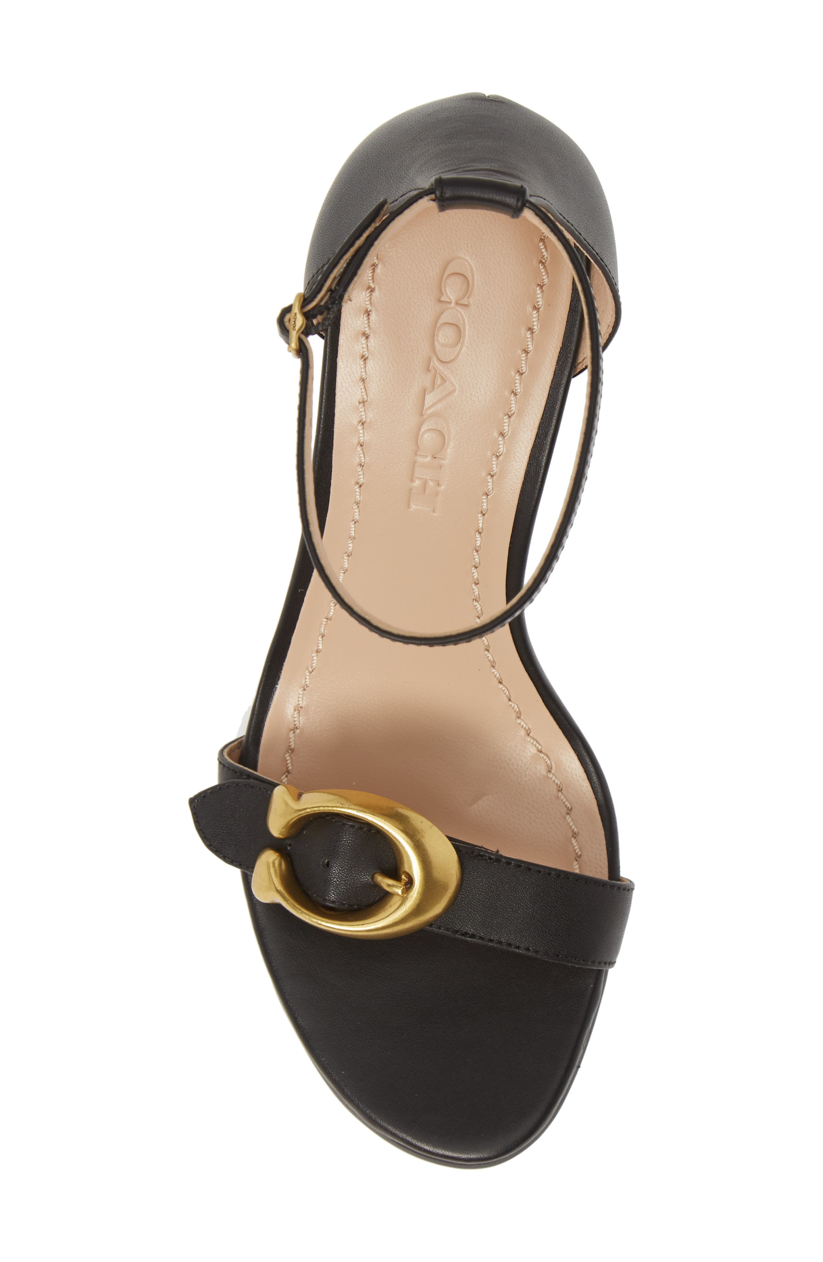 COACH, Odetta Wedge Ankle Strap Sandal, Alternate thumbnail 5, color, BLACK LEATHER