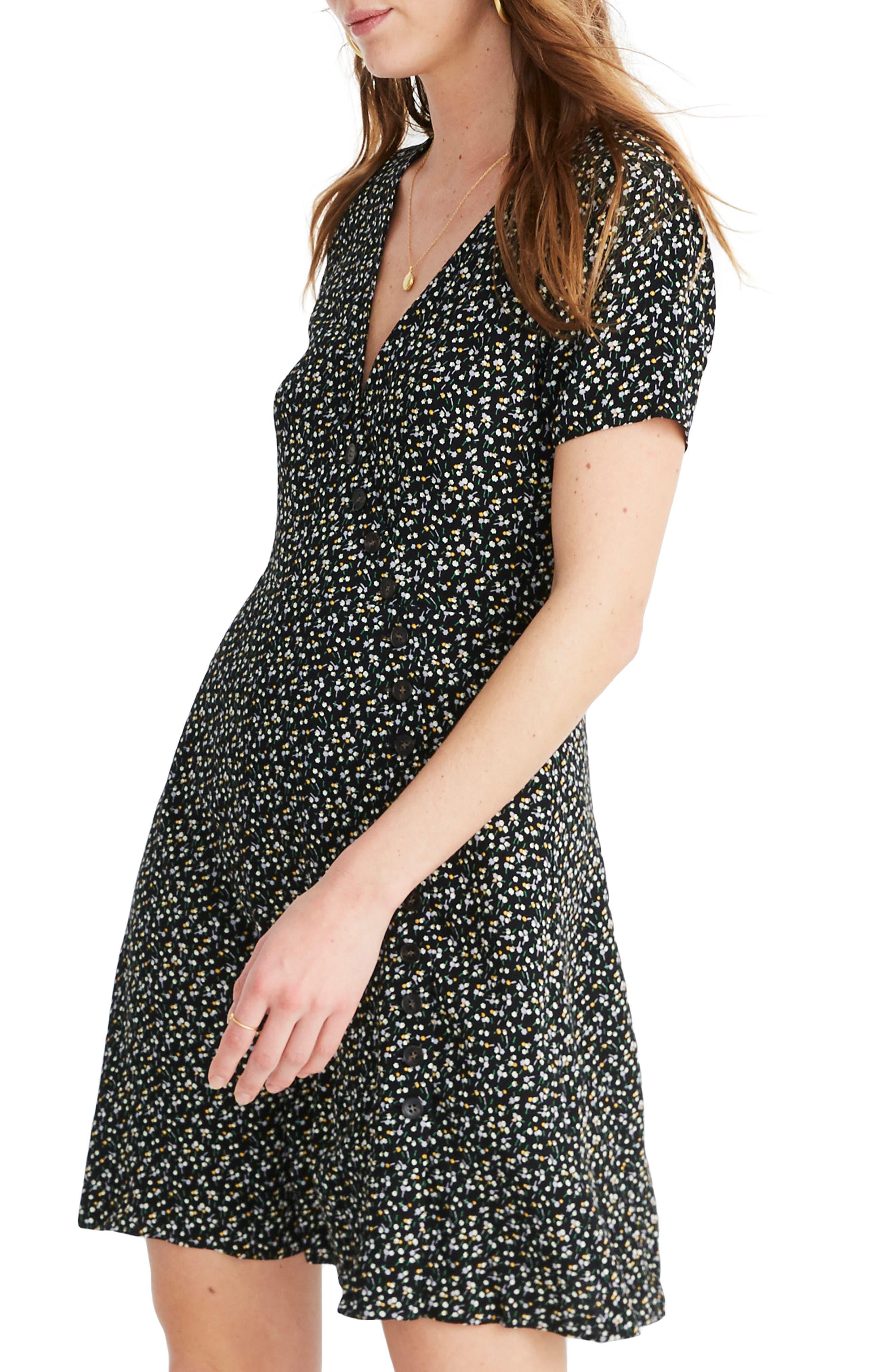 MADEWELL, Button Wrap Dress, Alternate thumbnail 3, color, BLACK FLORAL