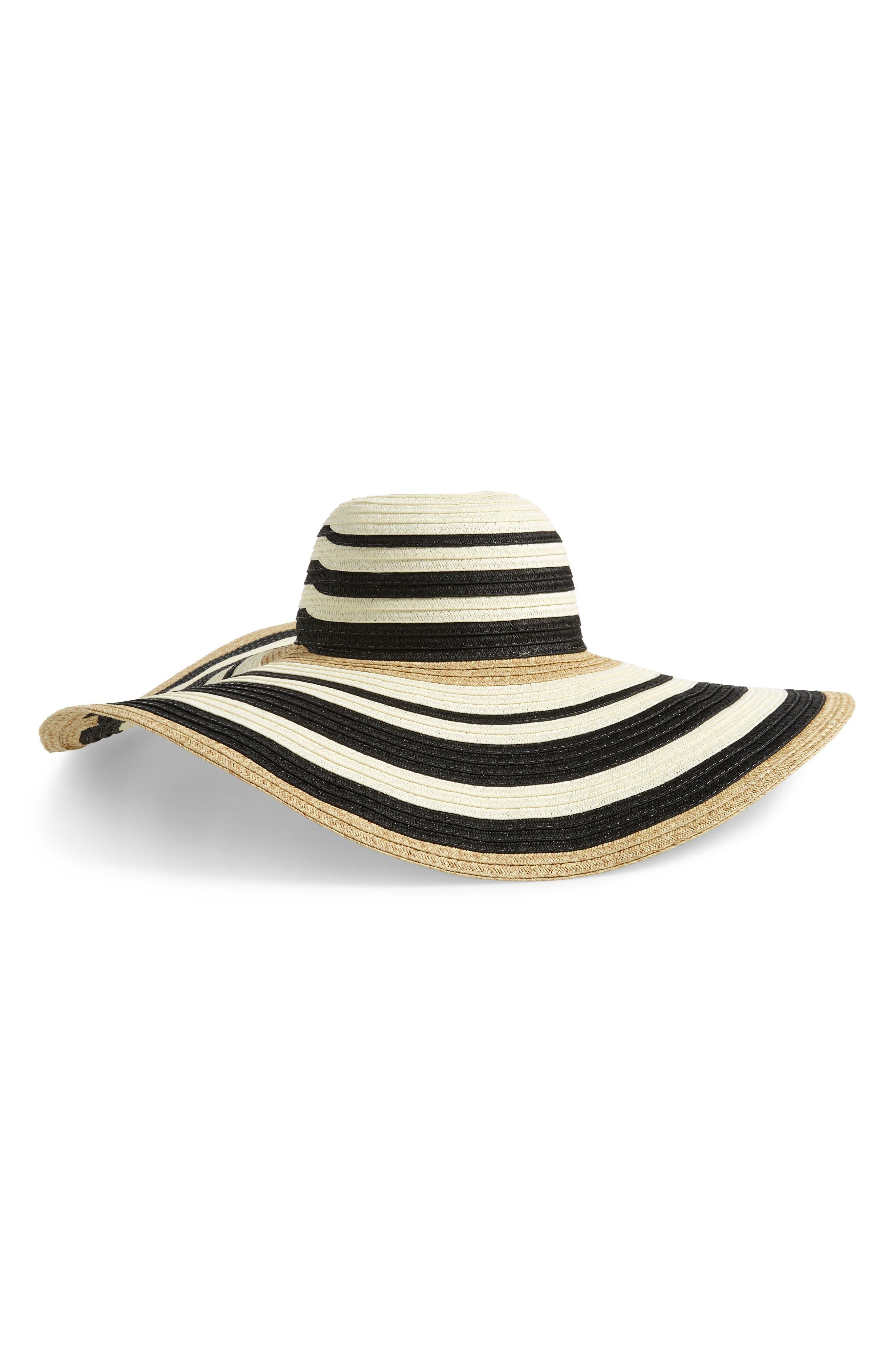 NORDSTROM, Modern Stripe Floppy Hat, Main thumbnail 1, color, BLACK COMBO