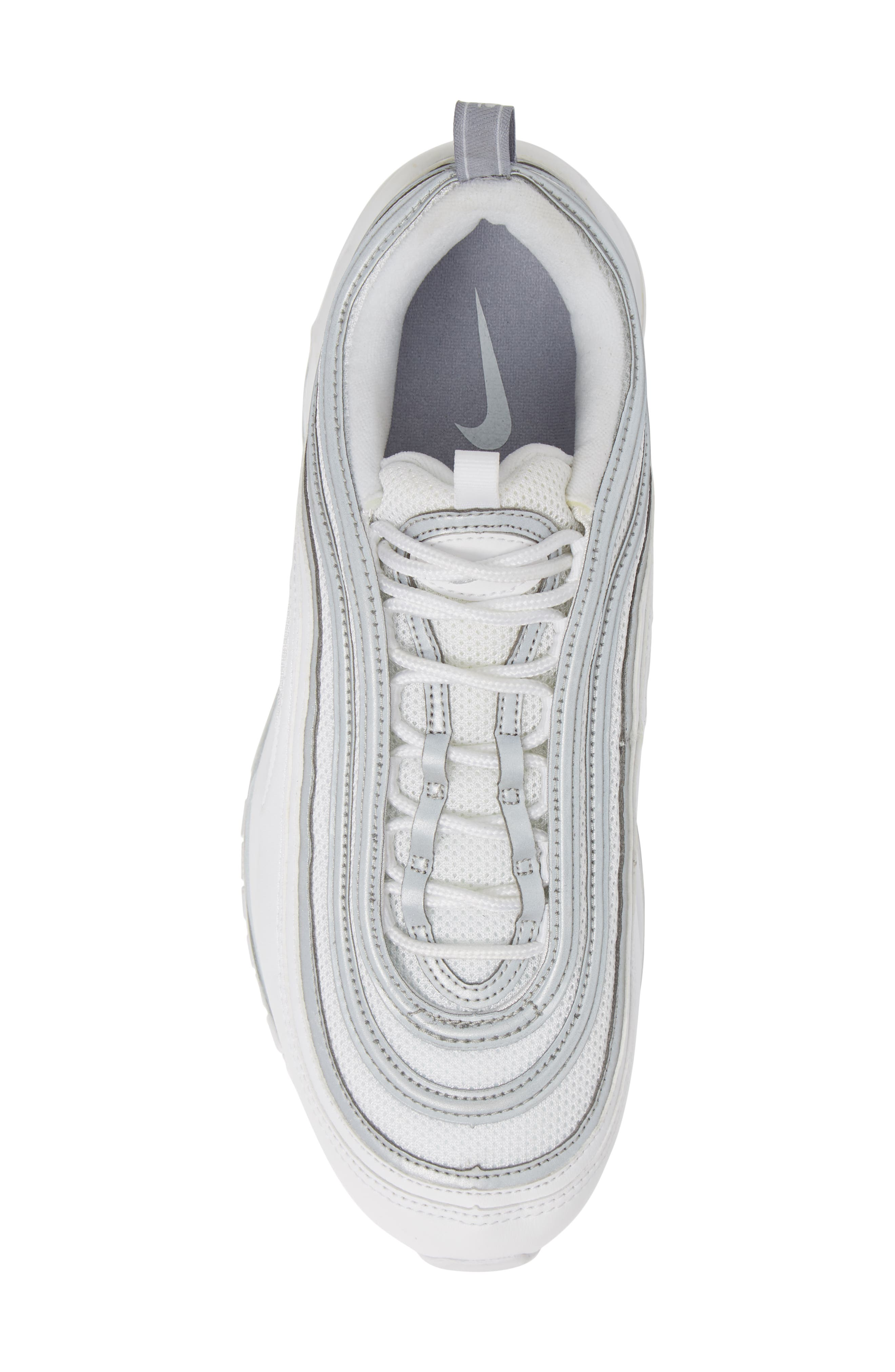 NIKE, Air Max 97 Sneaker, Alternate thumbnail 5, color, WHITE/ SILVER/ WOLF GREY
