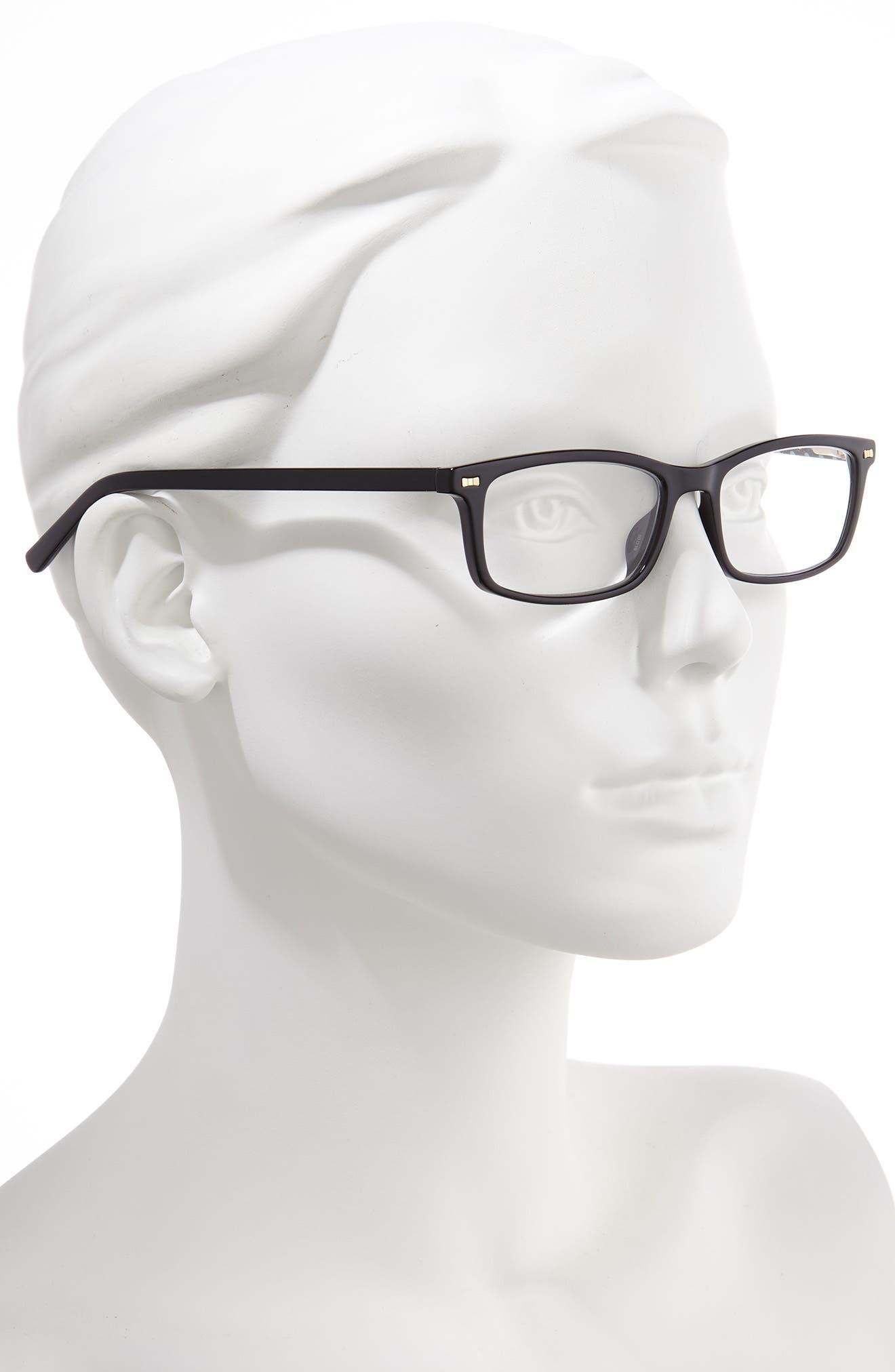 KATE SPADE NEW YORK, jodie 50mm rectangular reading glasses, Alternate thumbnail 2, color, BLACK POLKA DOT