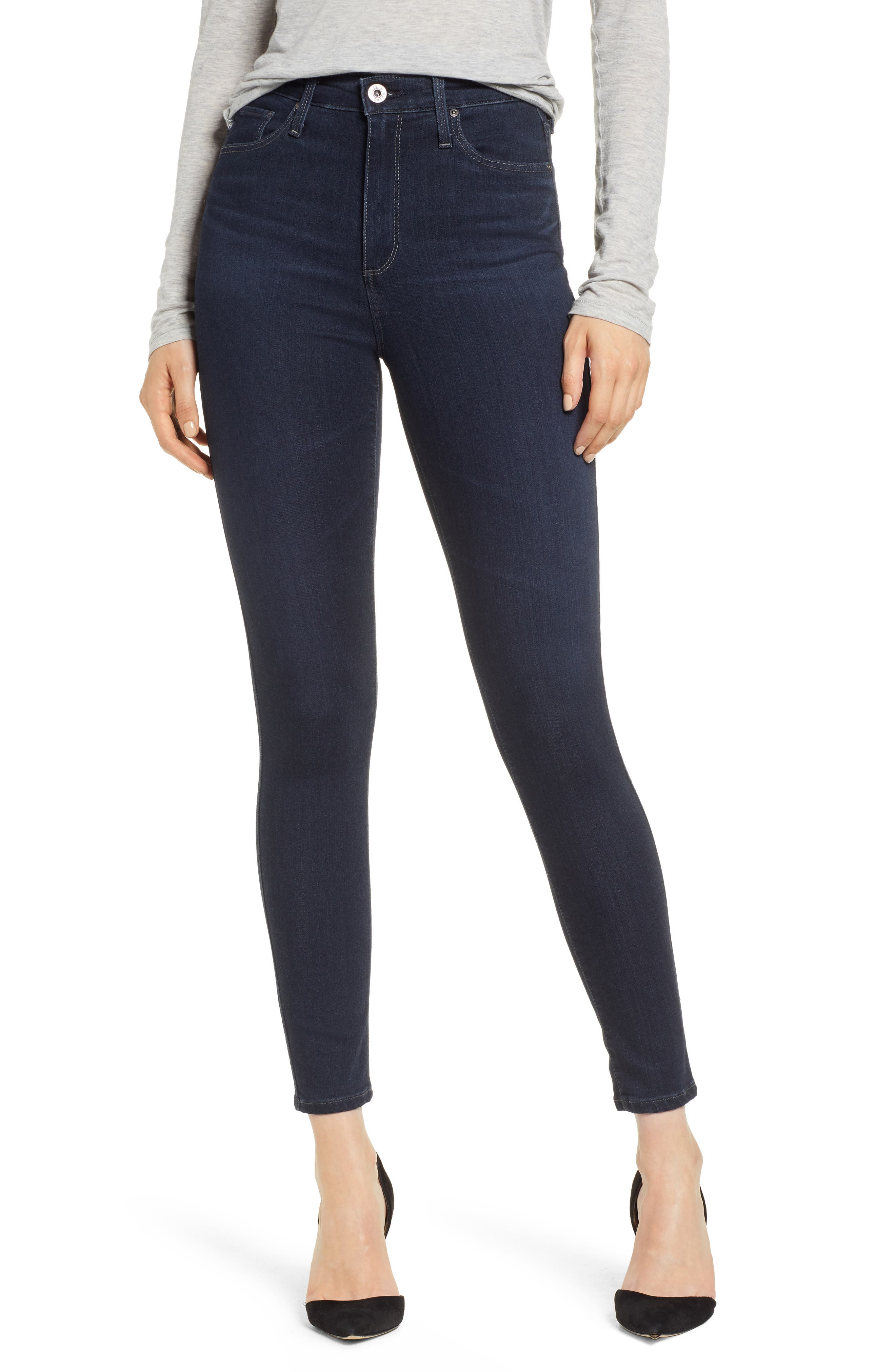 AG, The Mila Super High Waist Ankle Skinny Jeans, Main thumbnail 1, color, AUDACIOUS