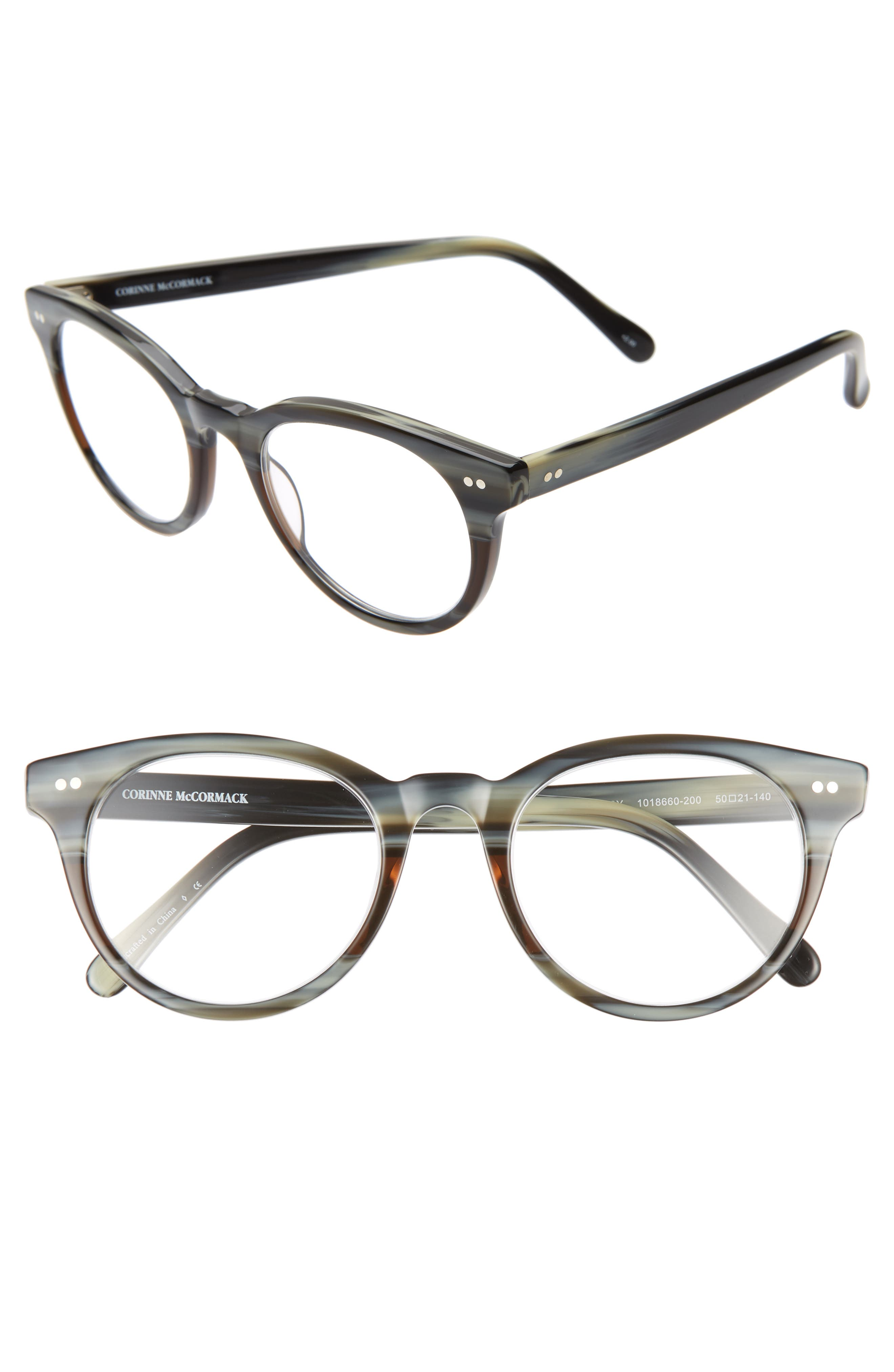 CORINNE MCCORMACK Abby 50mm Reading Glasses, Main, color, GREY HORN