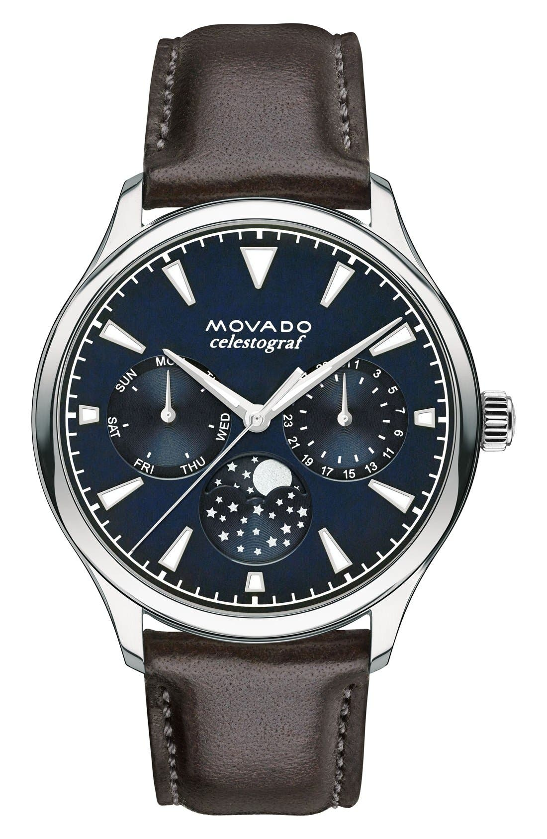 MOVADO, 'Heritage' Multifunction Leather Strap Watch, 36mm, Main thumbnail 1, color, BROWN/ BLUE/ SILVER