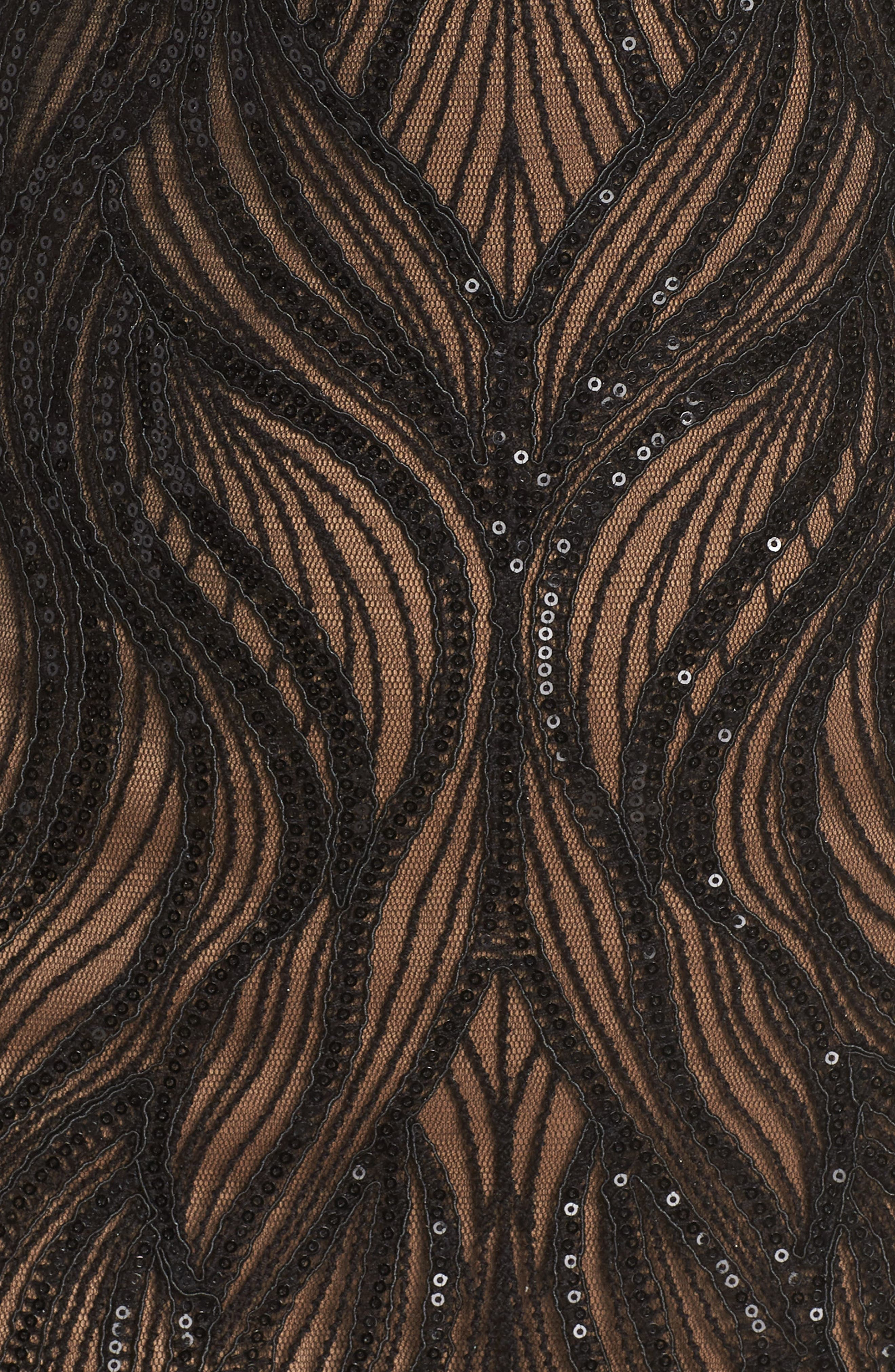 TADASHI SHOJI, Long Sleeve Sequined Mesh Evening Dress, Alternate thumbnail 6, color, 001