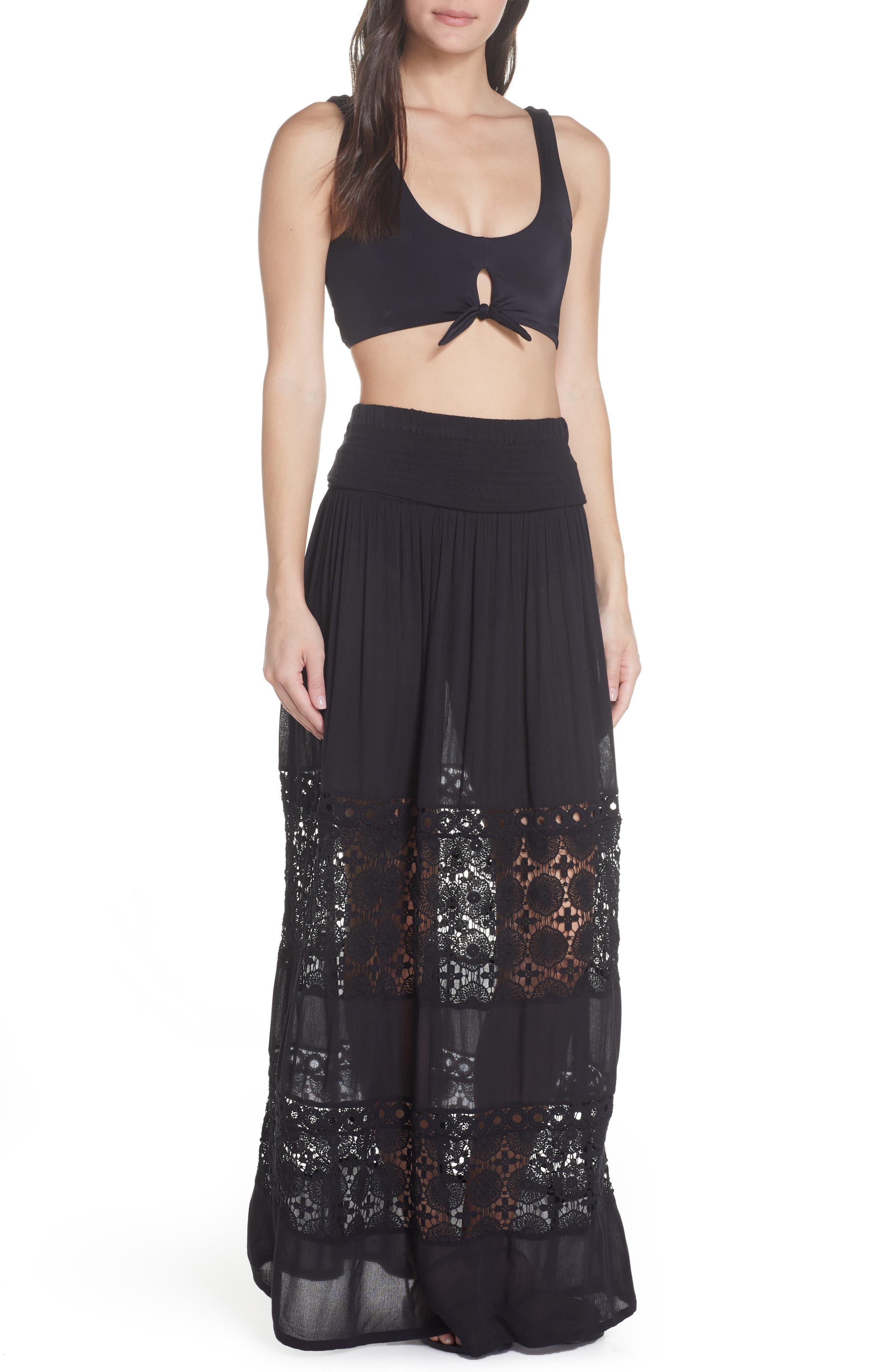 CHELSEA28, Farrah Smocked Cover-Up Maxi Dress, Alternate thumbnail 2, color, BLACK