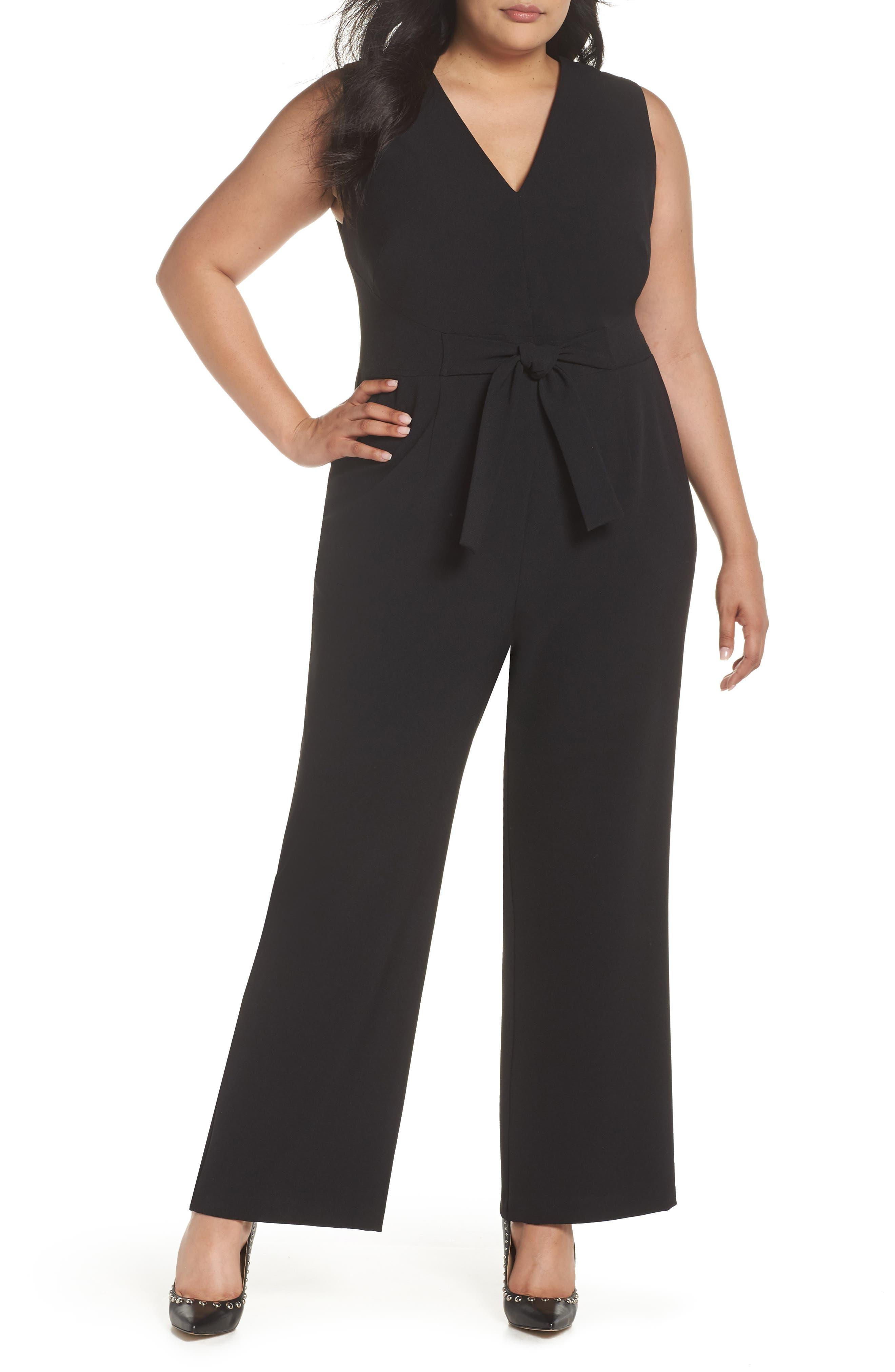 VINCE CAMUTO, Crepe Tie Front Wide Leg Jumpsuit, Main thumbnail 1, color, BLACK
