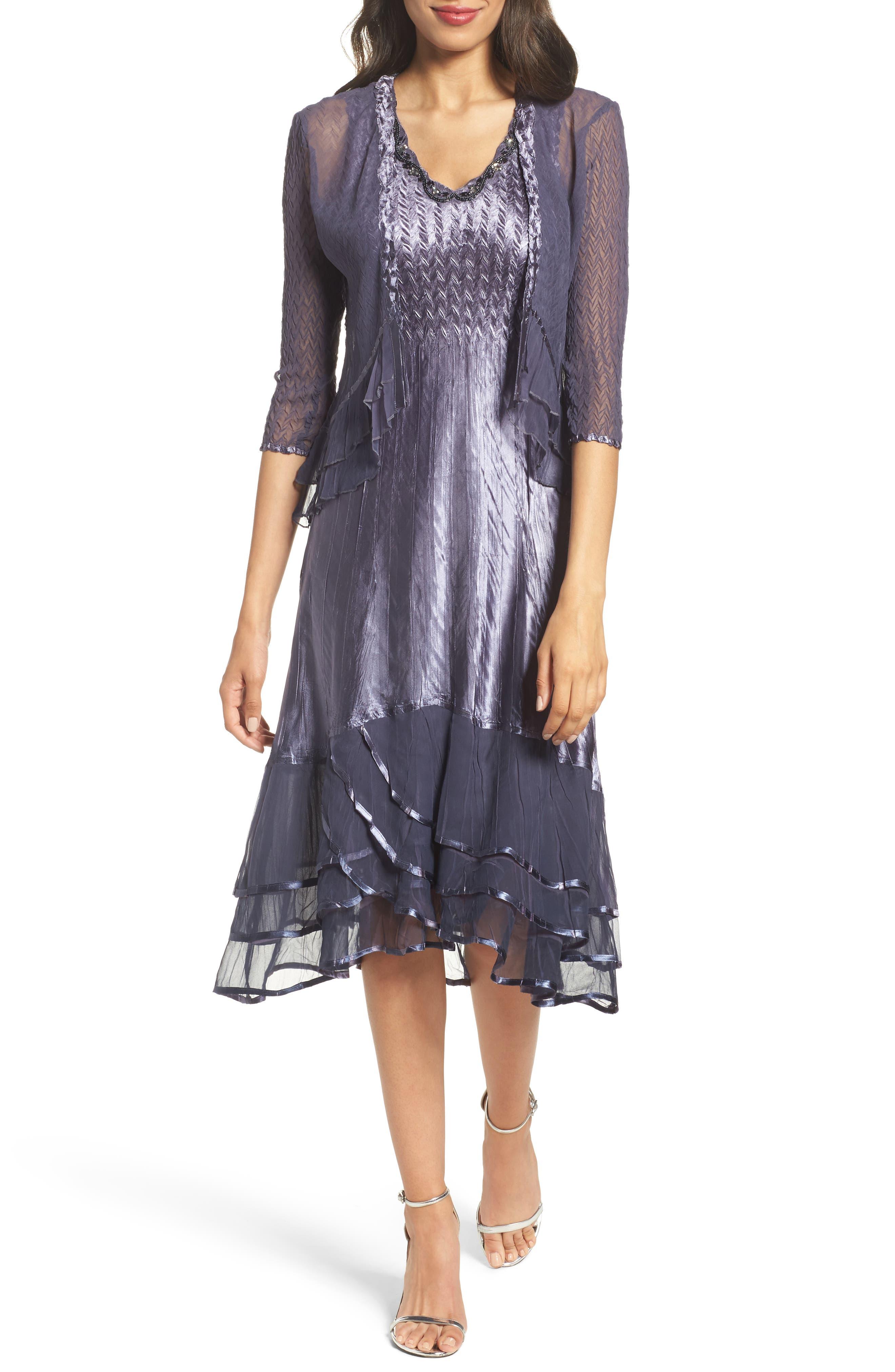 KOMAROV, Embellished Charmeuse Dress & Chiffon Jacket, Main thumbnail 1, color, 454