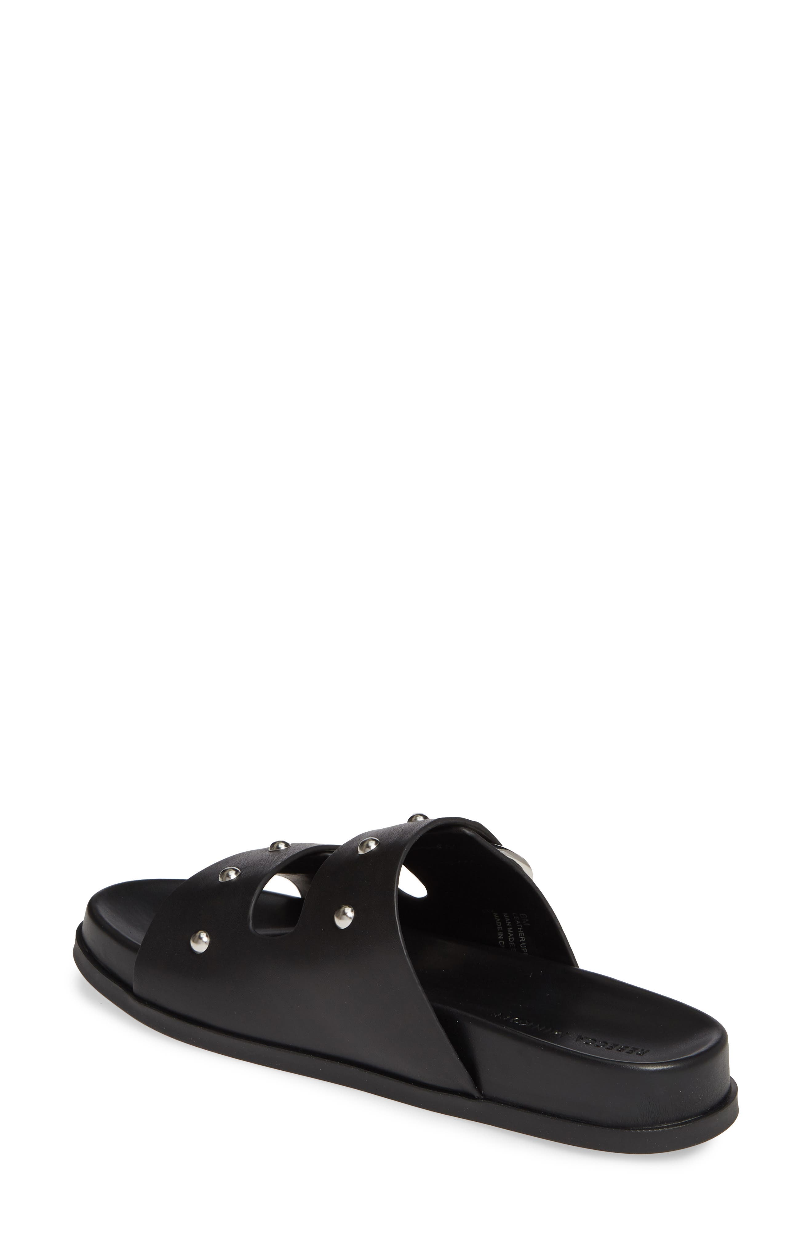 REBECCA MINKOFF, Vachel Slide Sandal, Alternate thumbnail 2, color, BLACK LEATHER