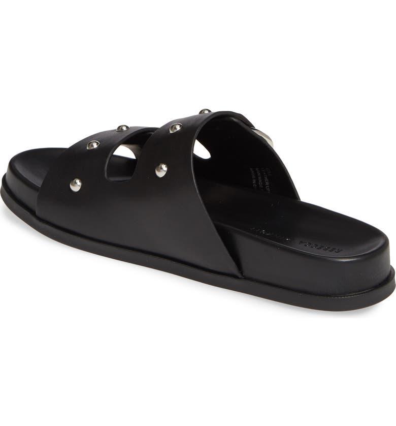 1a38b4aae6f0 Rebecca Minkoff Vachel Metallic Buckled Slides In Black
