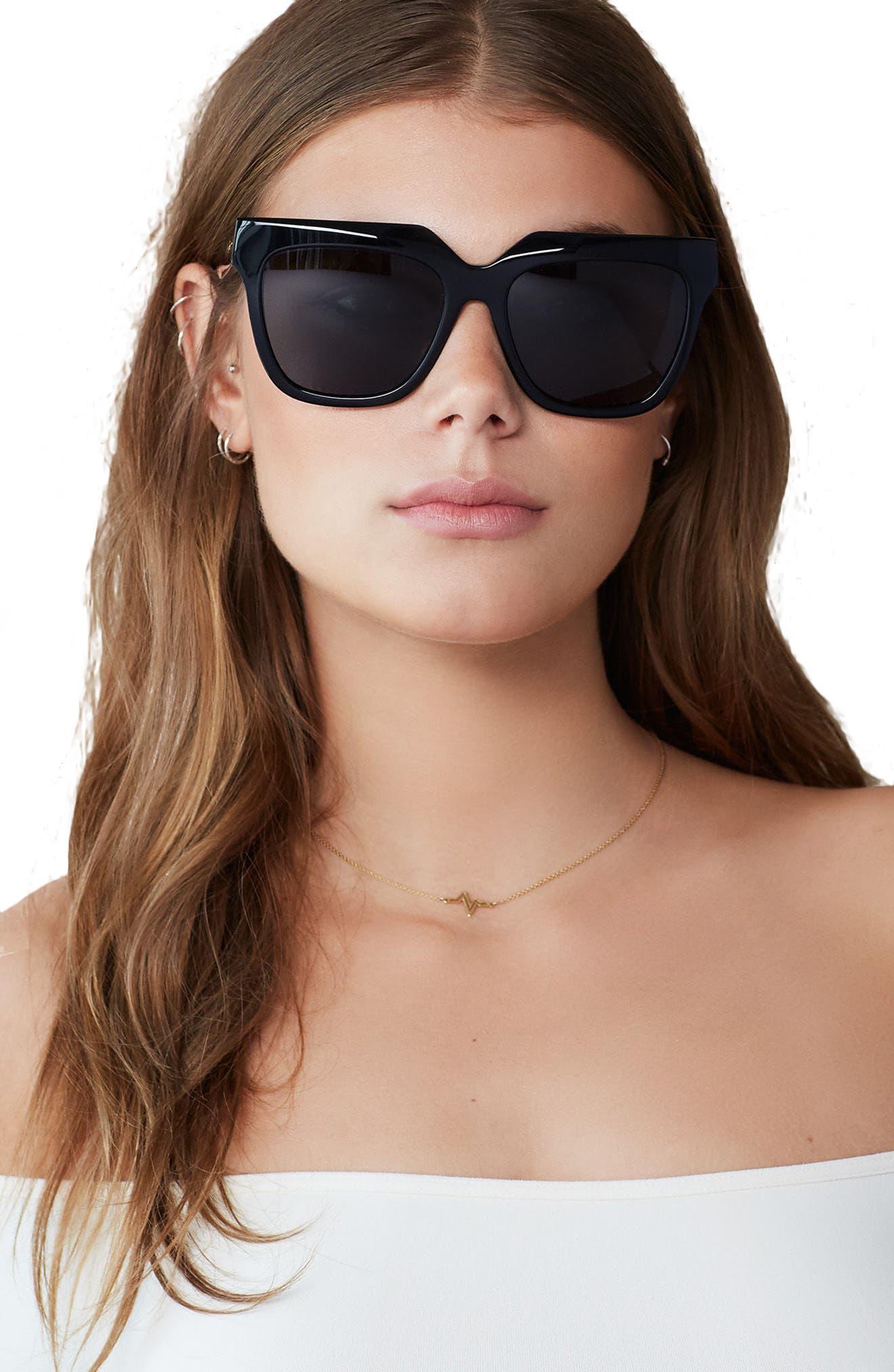 SONIX, Avalon 57mm Retro Sunglasses, Alternate thumbnail 3, color, 001