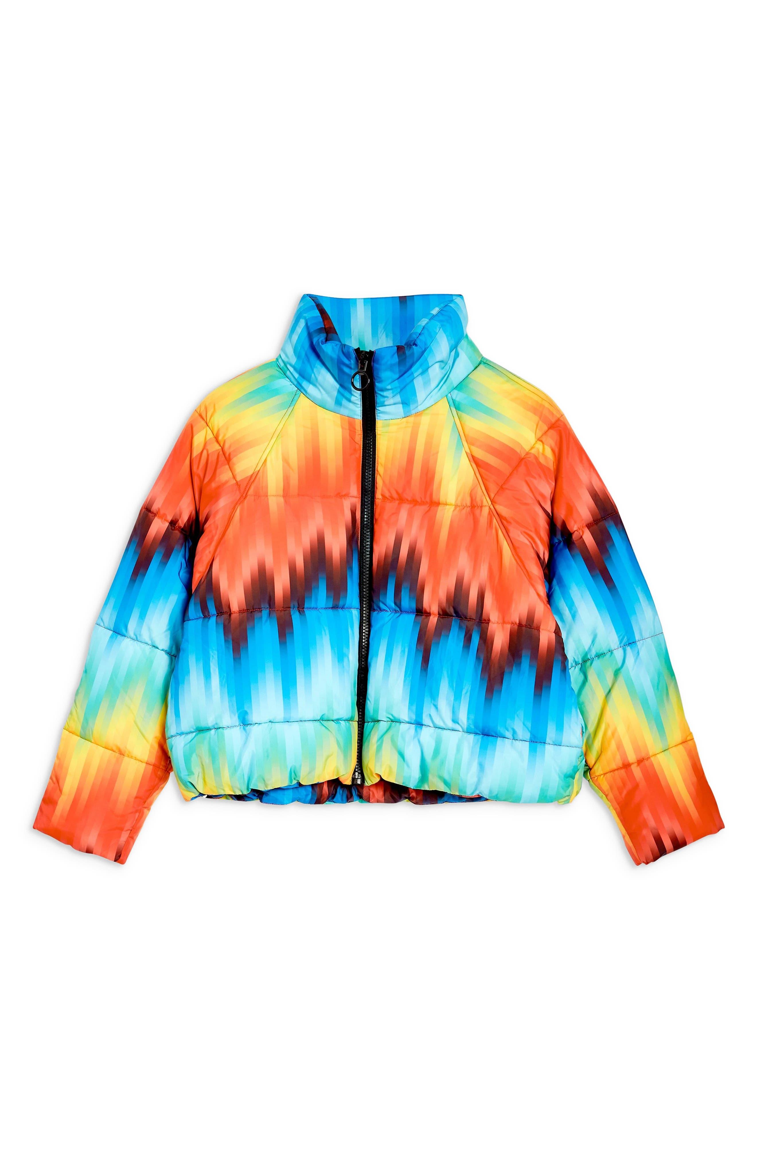 TOPSHOP, Rainbow Puffer Jacket, Alternate thumbnail 3, color, 460
