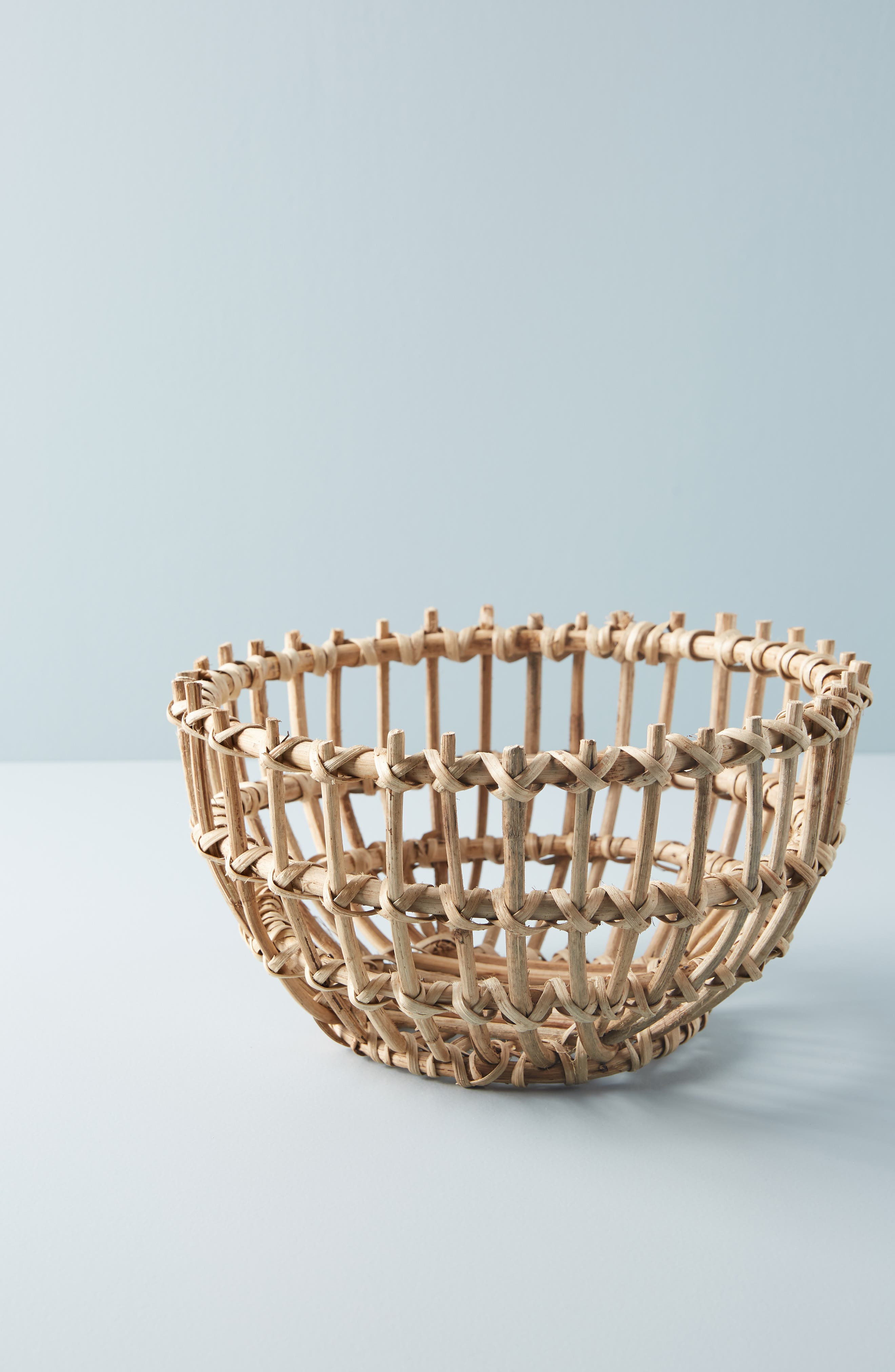 ANTHROPOLOGIE, Anthropology Woven Wooden Basket, Main thumbnail 1, color, BROWN
