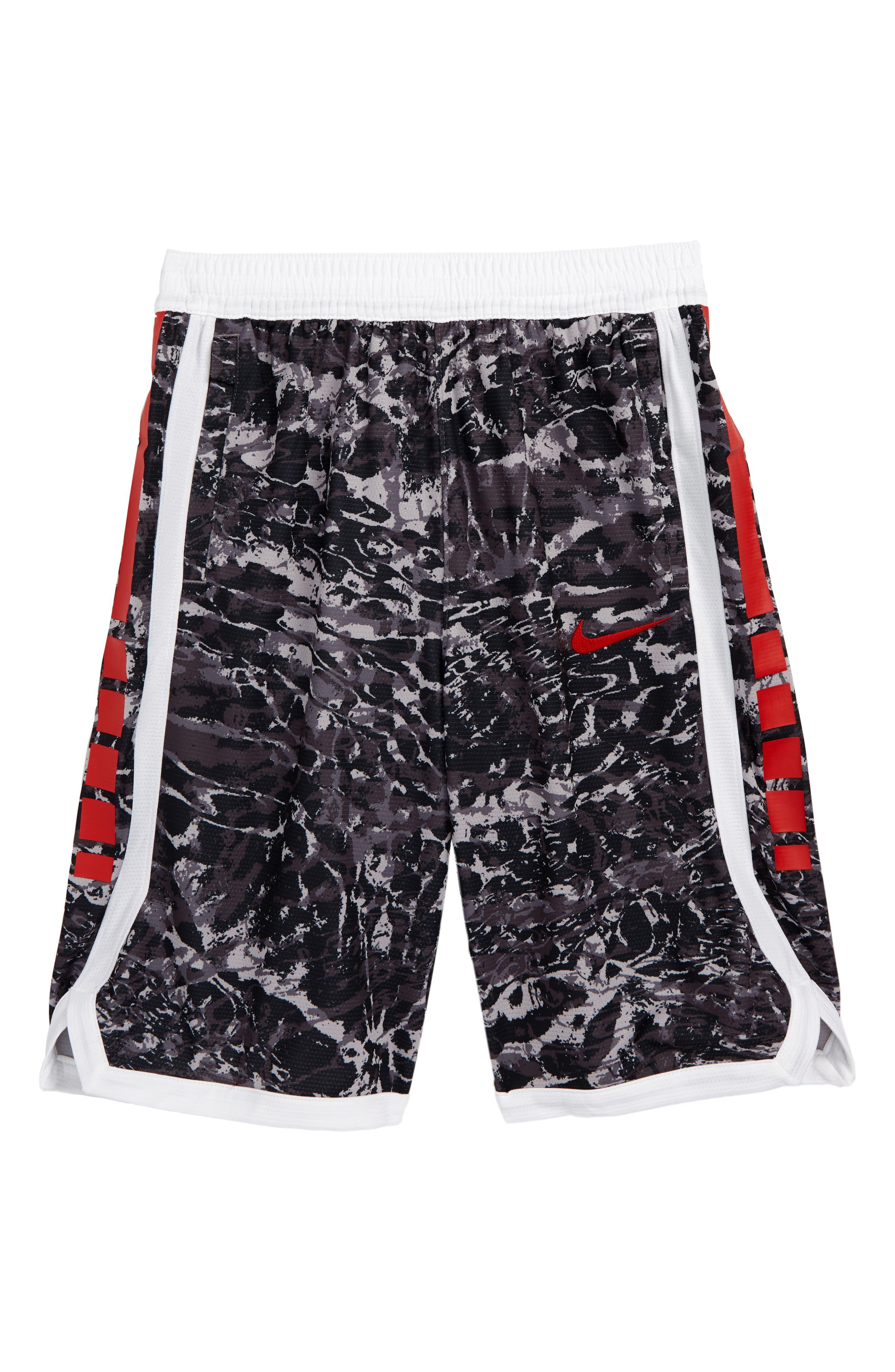 NIKE, Dry Elite Basketball Shorts, Main thumbnail 1, color, GUNSMOKE/ WHITE/ UNIV RED
