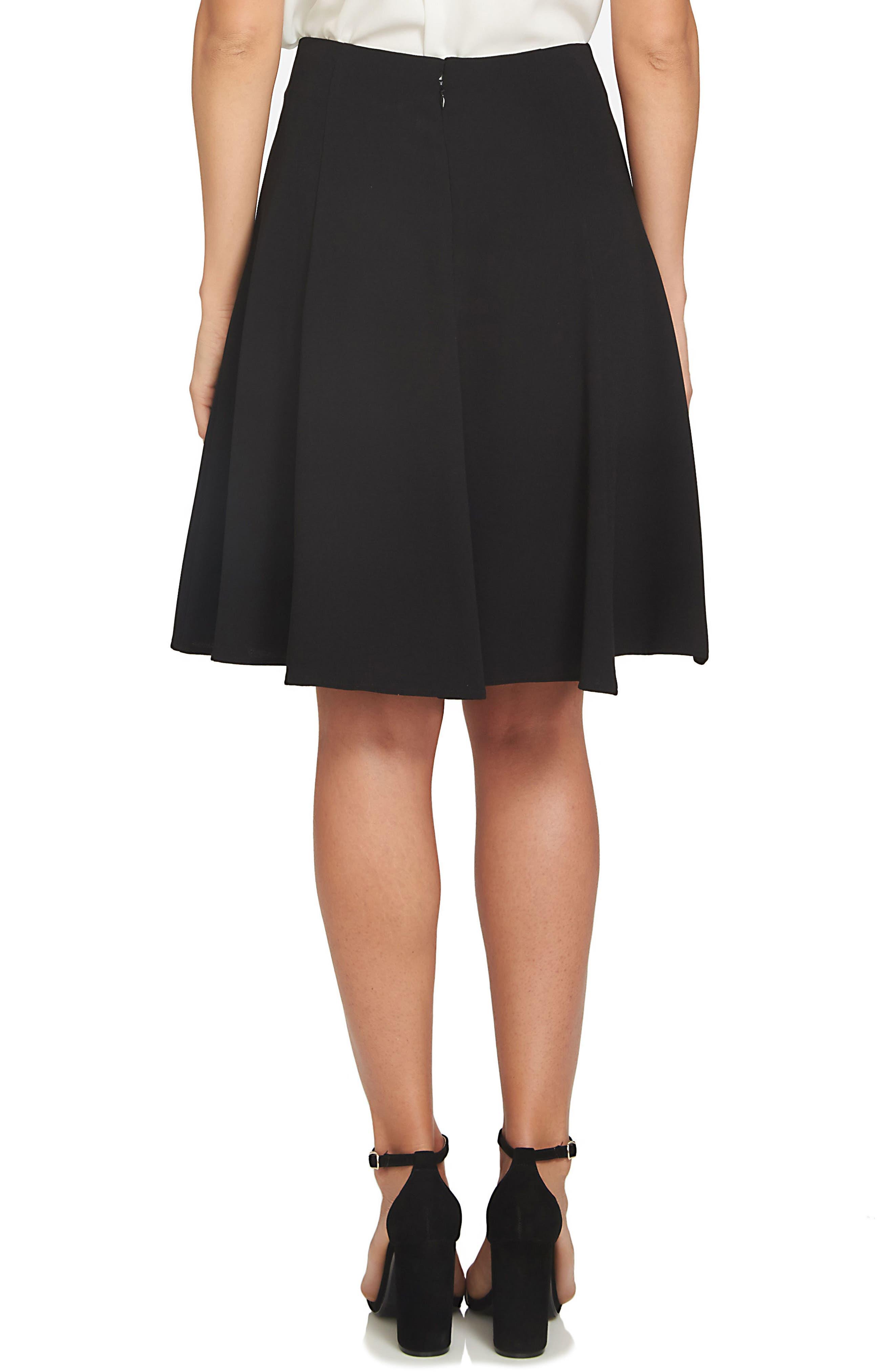 CECE, Crepe A-Line Skirt, Alternate thumbnail 2, color, BLACK