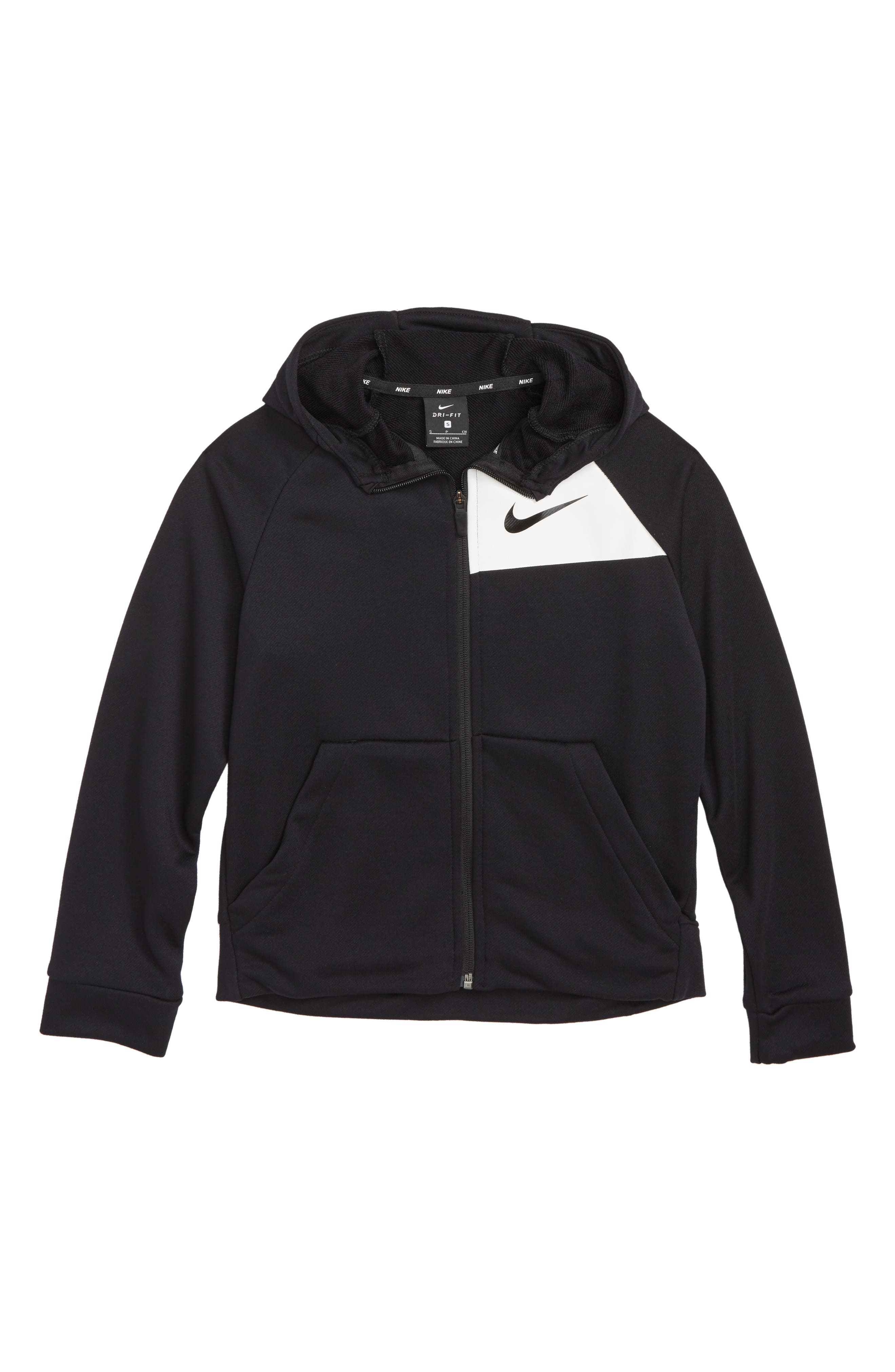 NIKE, Dry Full Zip Hoodie, Main thumbnail 1, color, BLACK/ WHITE