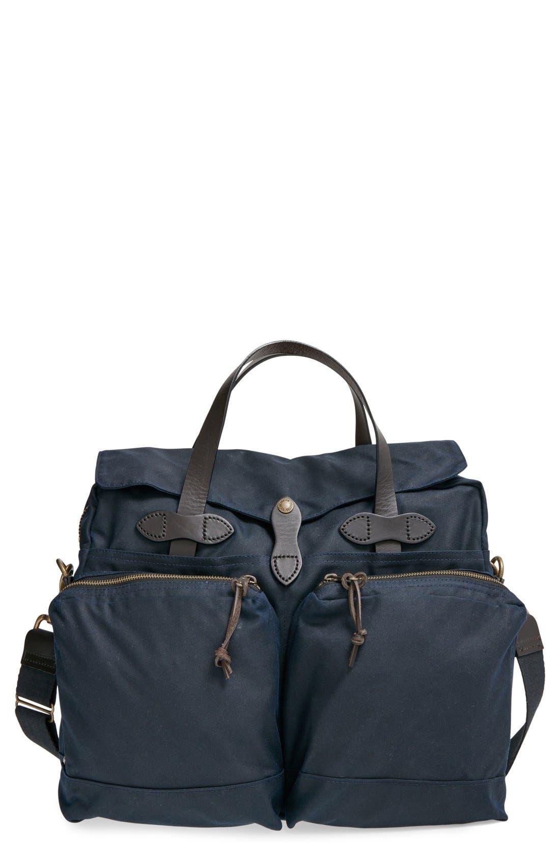 FILSON, '24 Hour' Tin Cloth Briefcase, Main thumbnail 1, color, NAVY