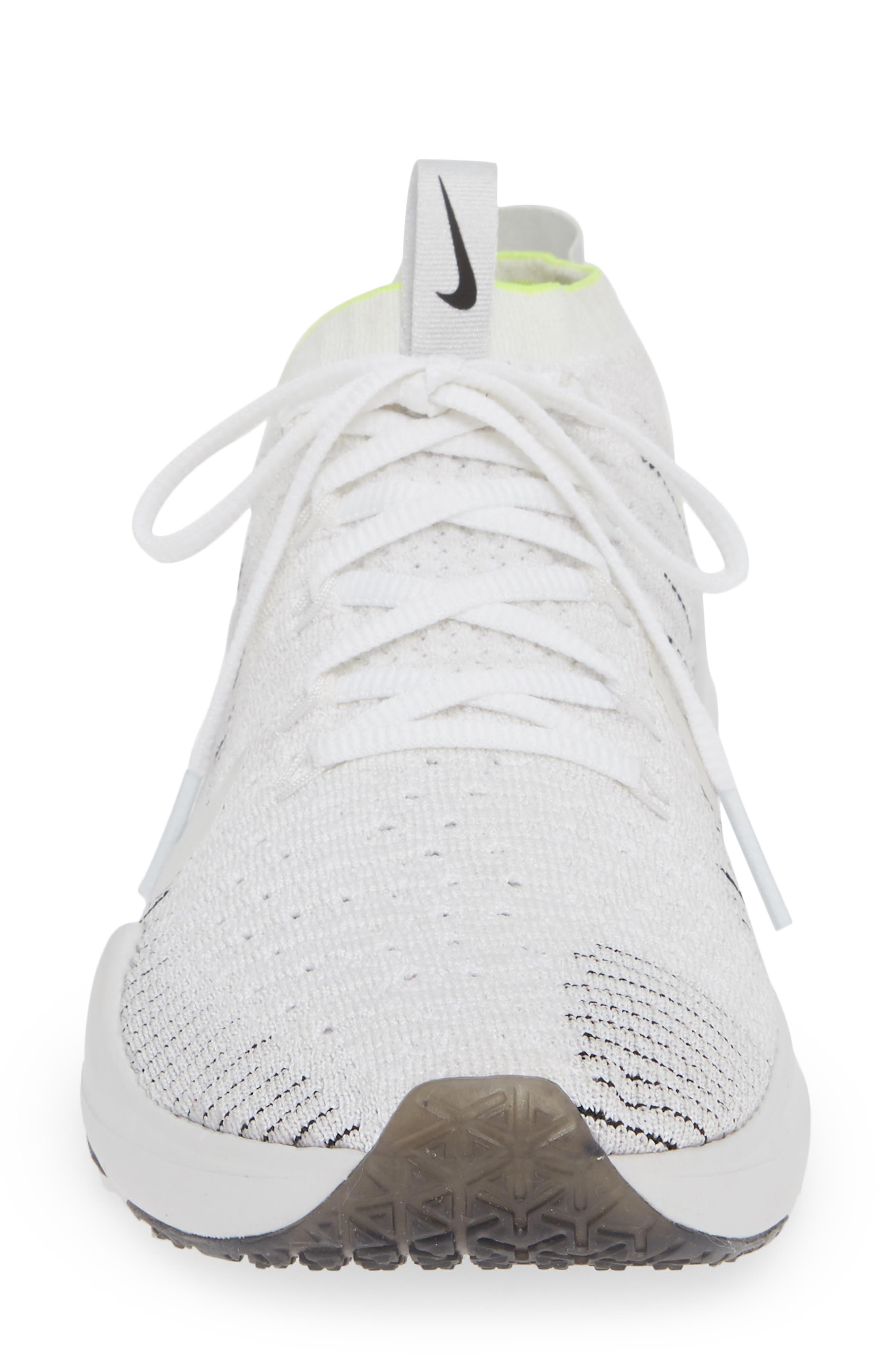 NIKE, Air Zoom Fearless Flyknit 2 Training Sneaker, Alternate thumbnail 4, color, WHITE/ PLATINUM TINT/ BLACK