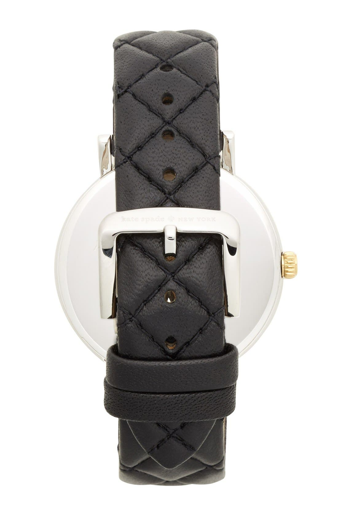KATE SPADE NEW YORK, 'metro grand' quilted strap watch, 38mm, Alternate thumbnail 2, color, 001