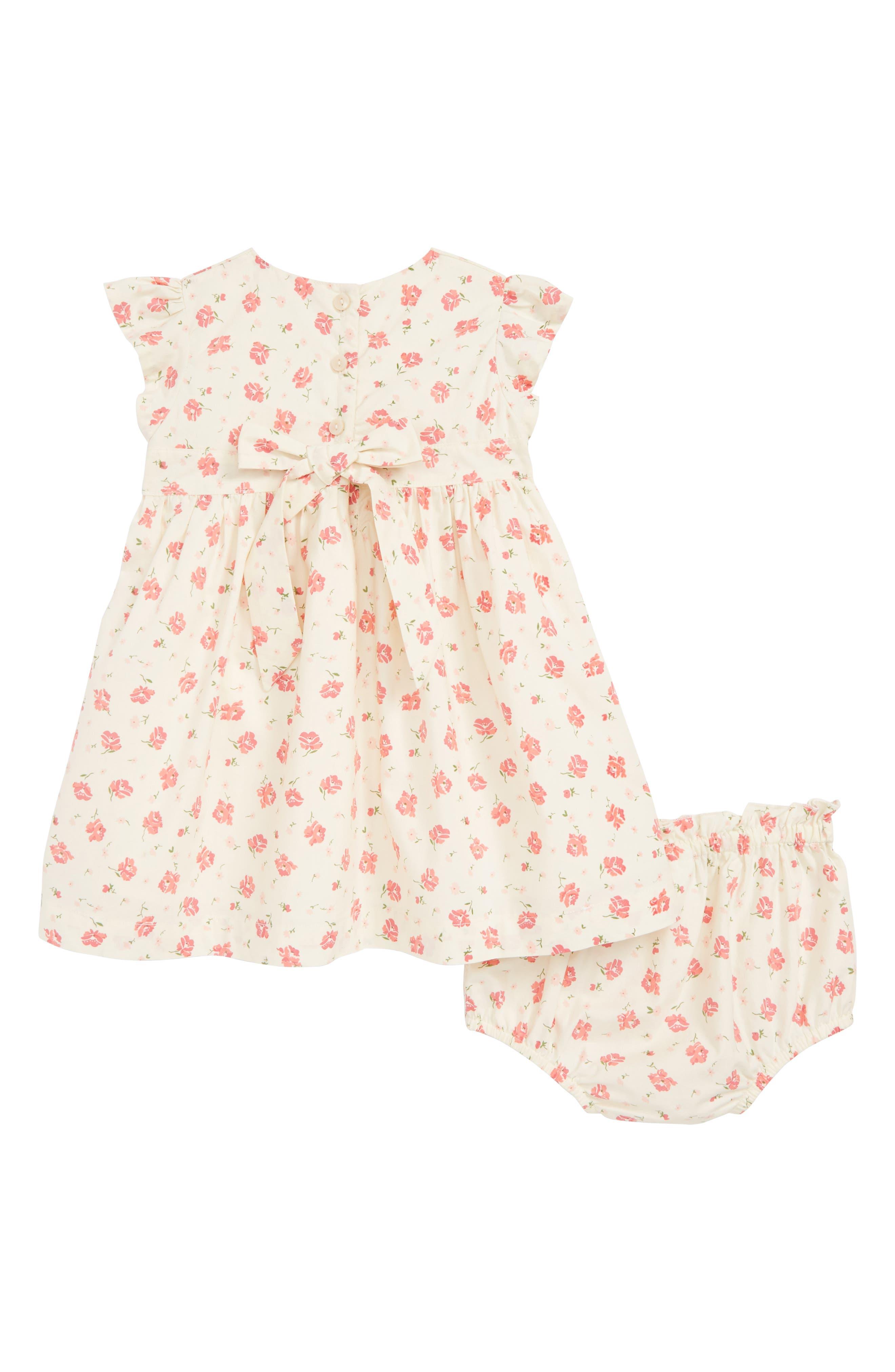 RUBY & BLOOM, Lily Print Smocked Dress, Alternate thumbnail 2, color, IVORY EGRET CASCADE FLORAL
