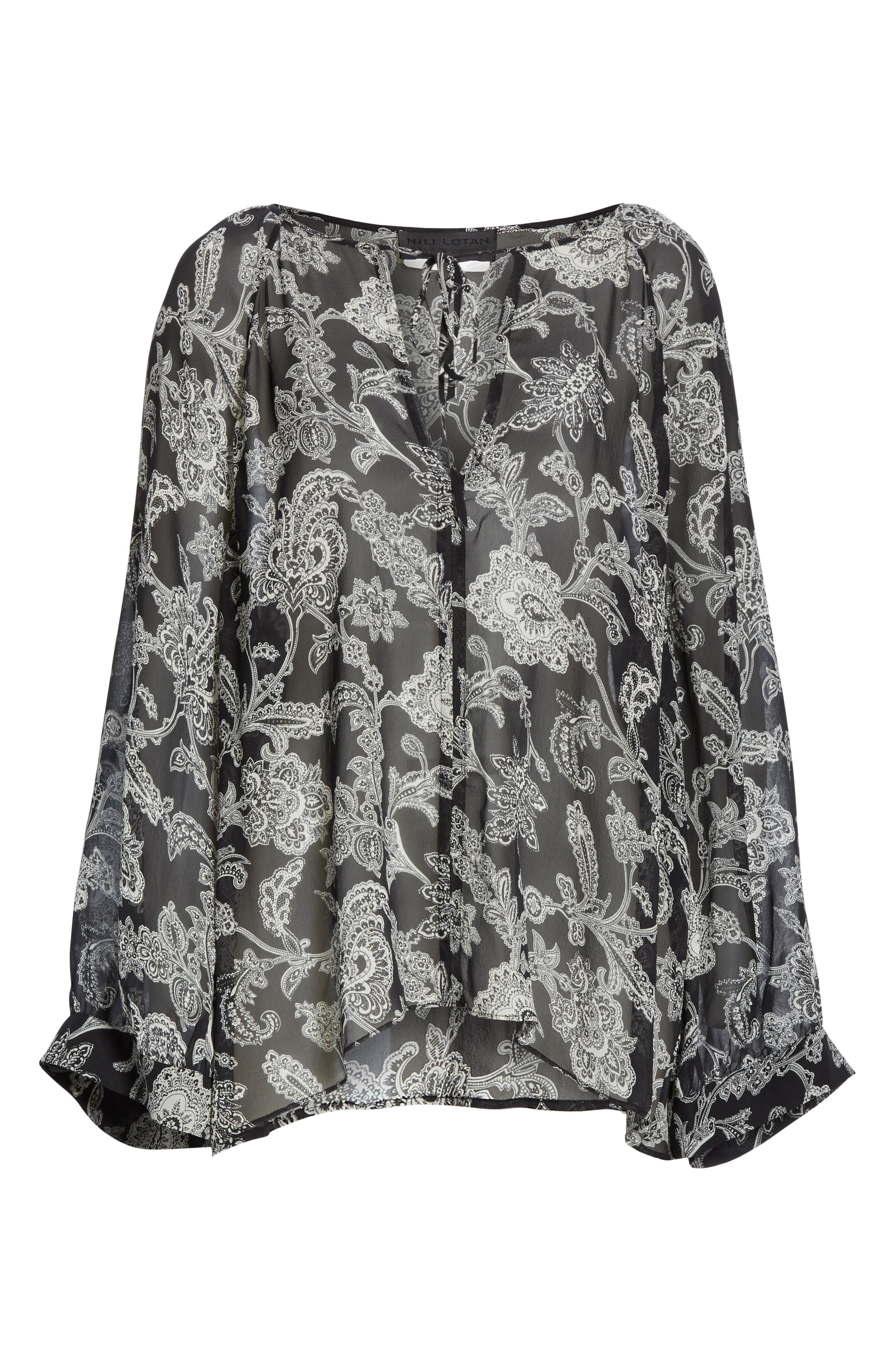 NILI LOTAN, Acadia Leopard Print Silk Blouse, Alternate thumbnail 6, color, BLACK PAISLEY