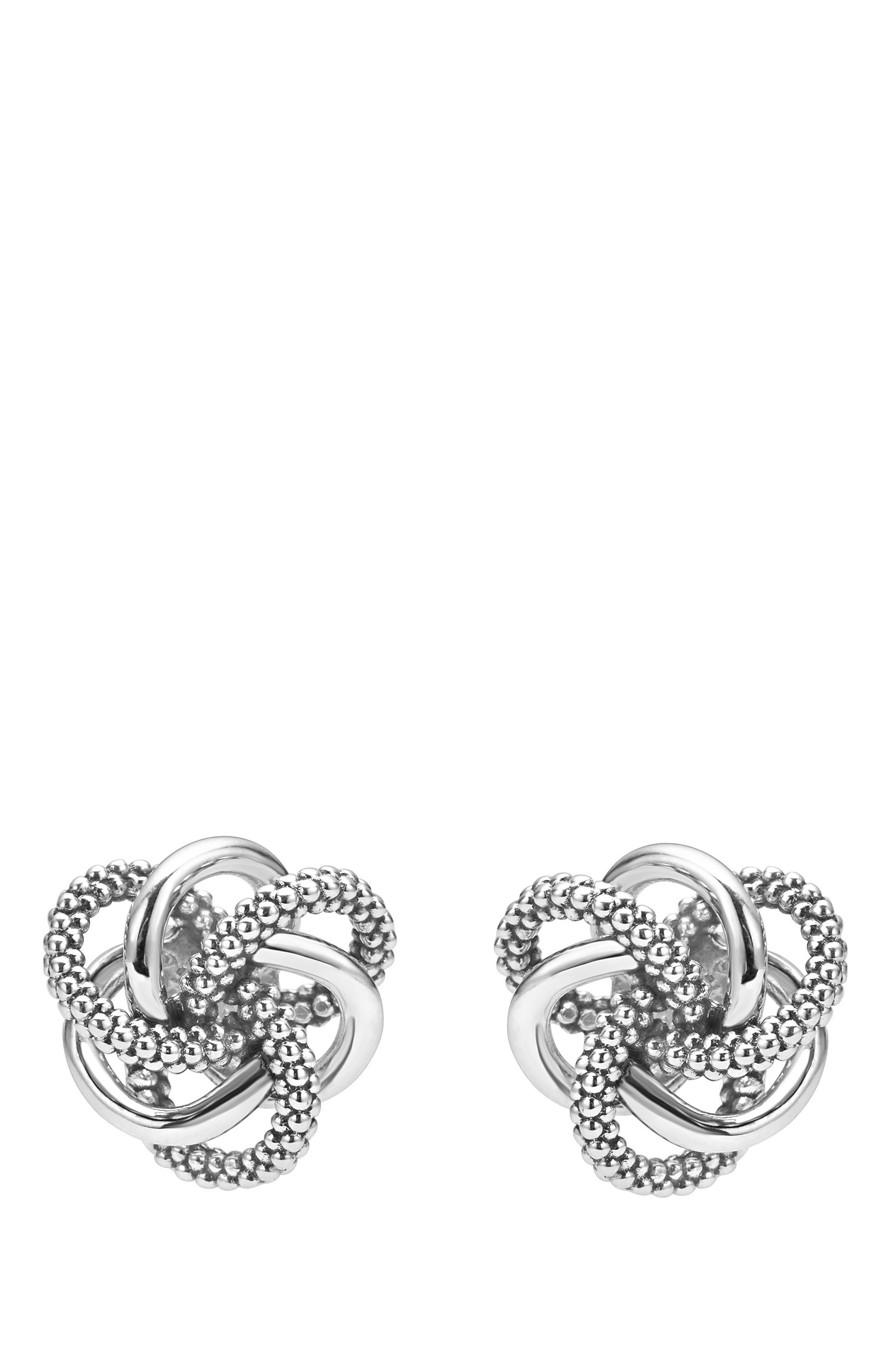 LAGOS, 'Love Knot' Sterling Silver Stud Earrings, Main thumbnail 1, color, STERLING SILVER