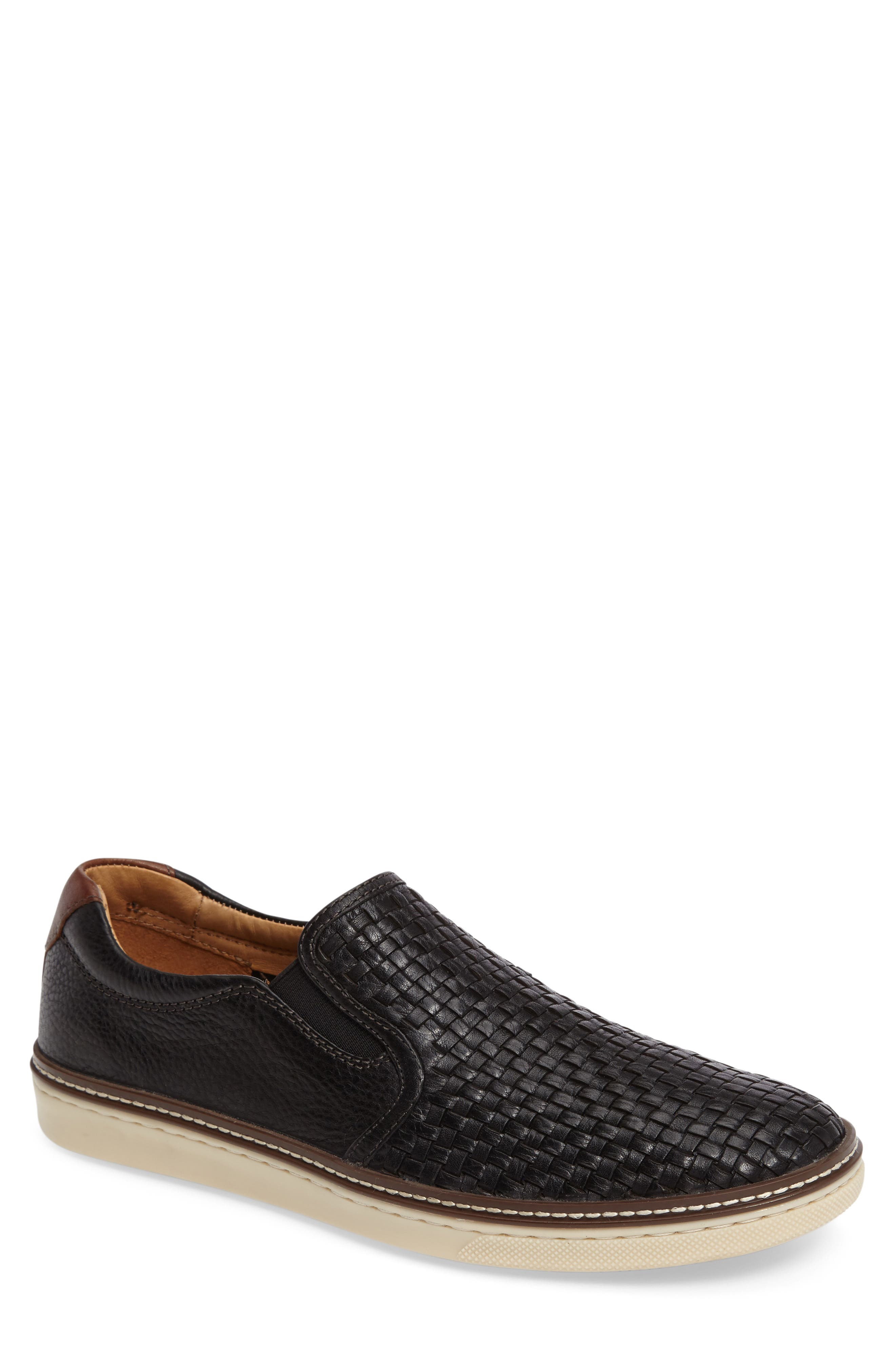 JOHNSTON & MURPHY, McGuffey Woven Slip-On Sneaker, Main thumbnail 1, color, BLACK LEATHER