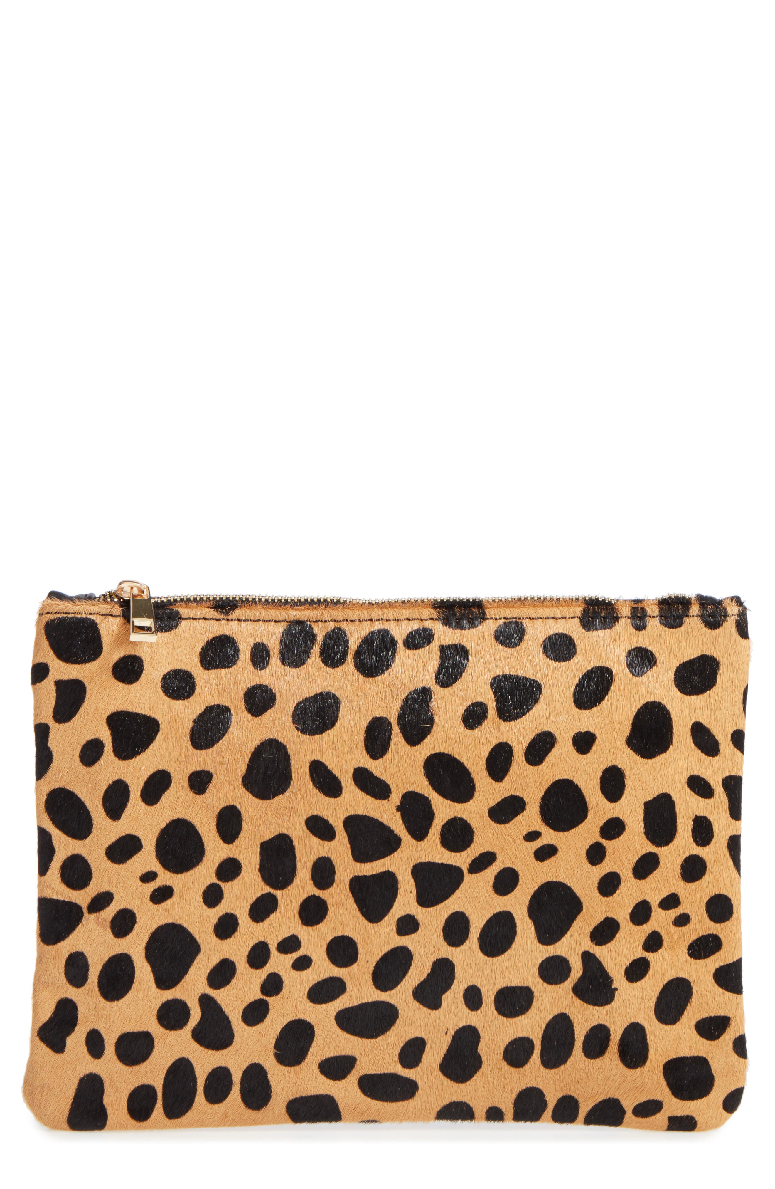BP. Leopard Print Genuine Calf Hair Pouch, Main, color, 200