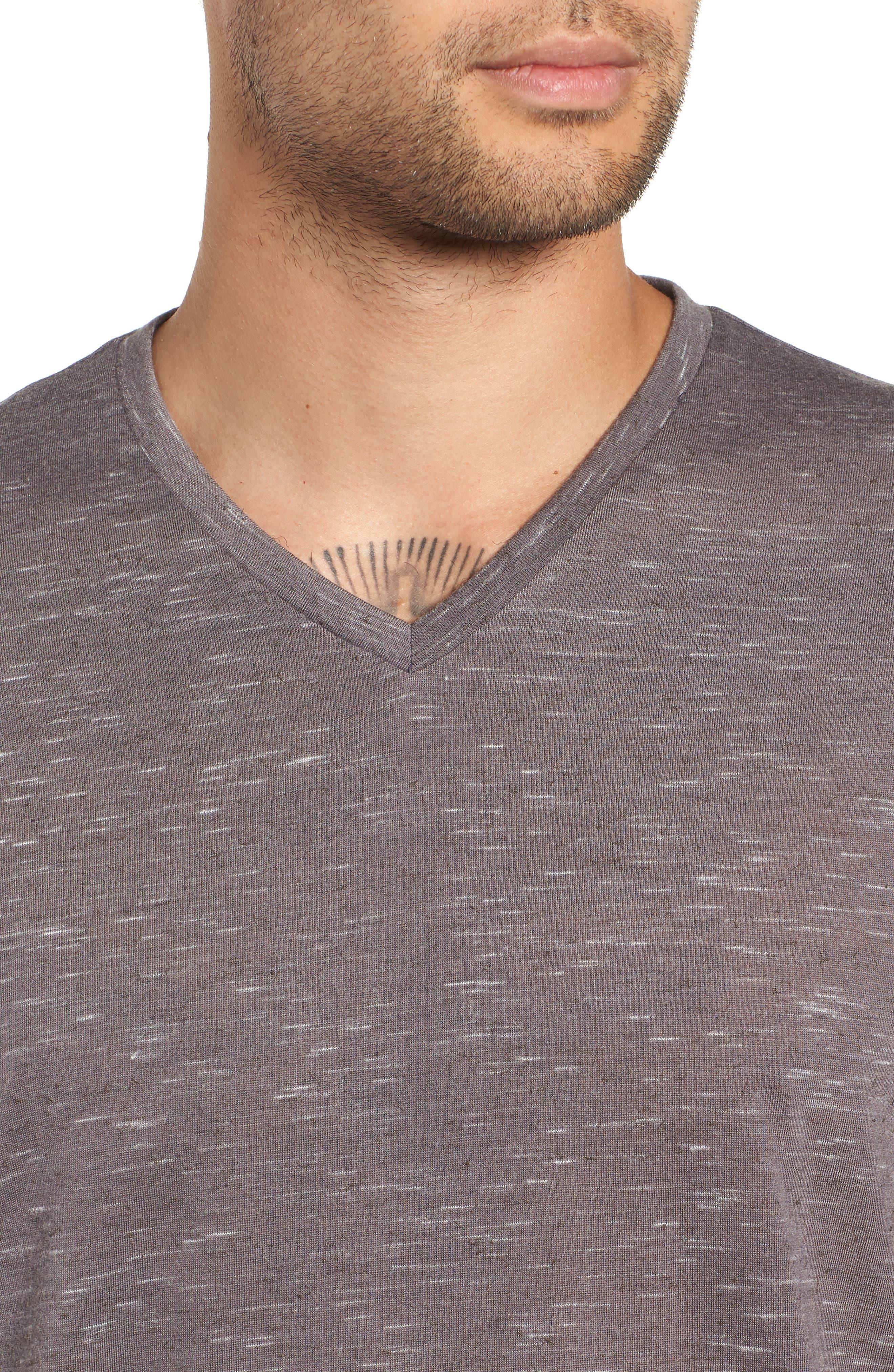 THE RAIL, Streaky V-Neck T-Shirt, Alternate thumbnail 4, color, GREY TORNADO- WHITE