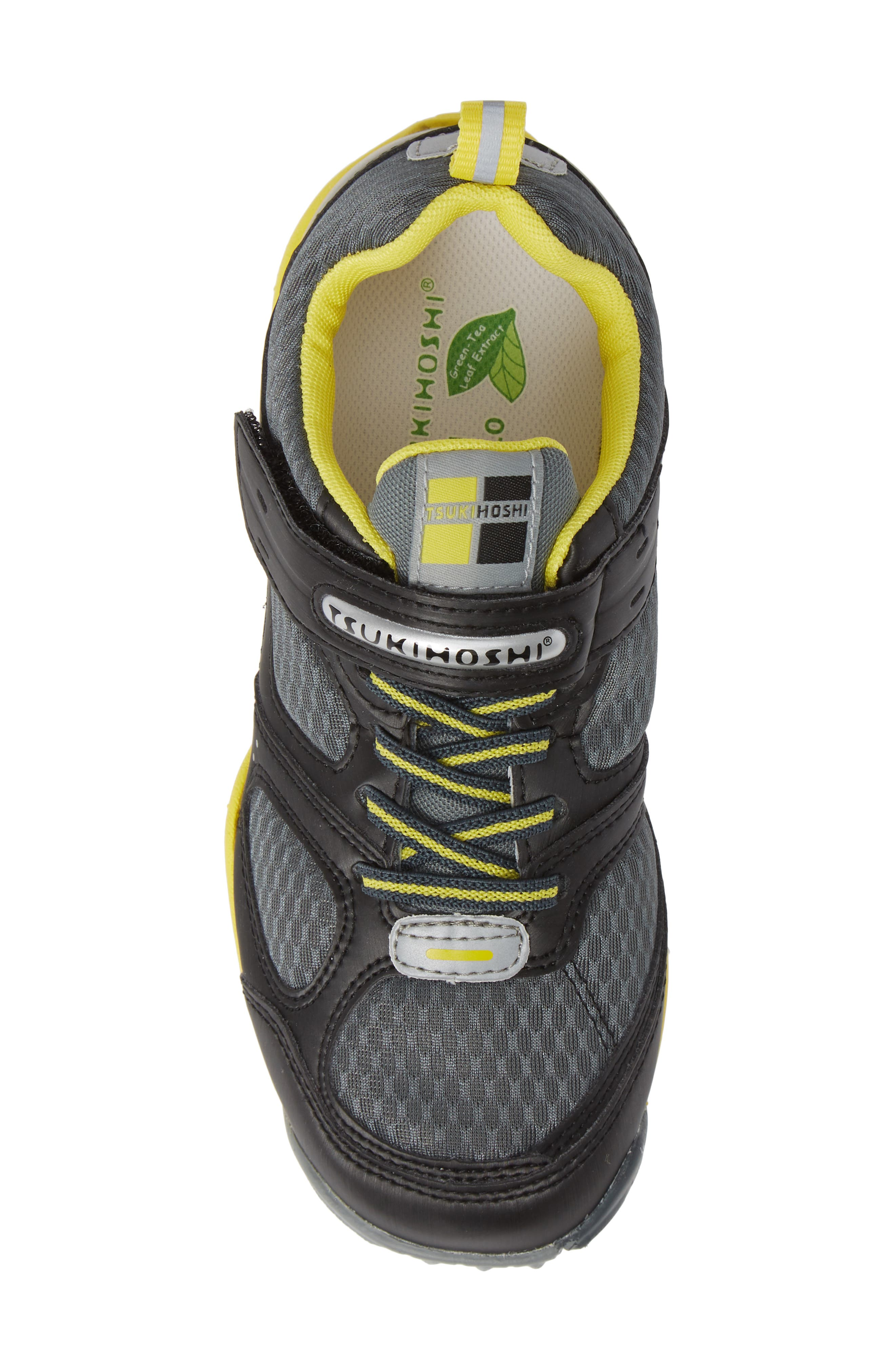 TSUKIHOSHI, Mako Washable Sneaker, Alternate thumbnail 5, color, BLACK/ YELLOW