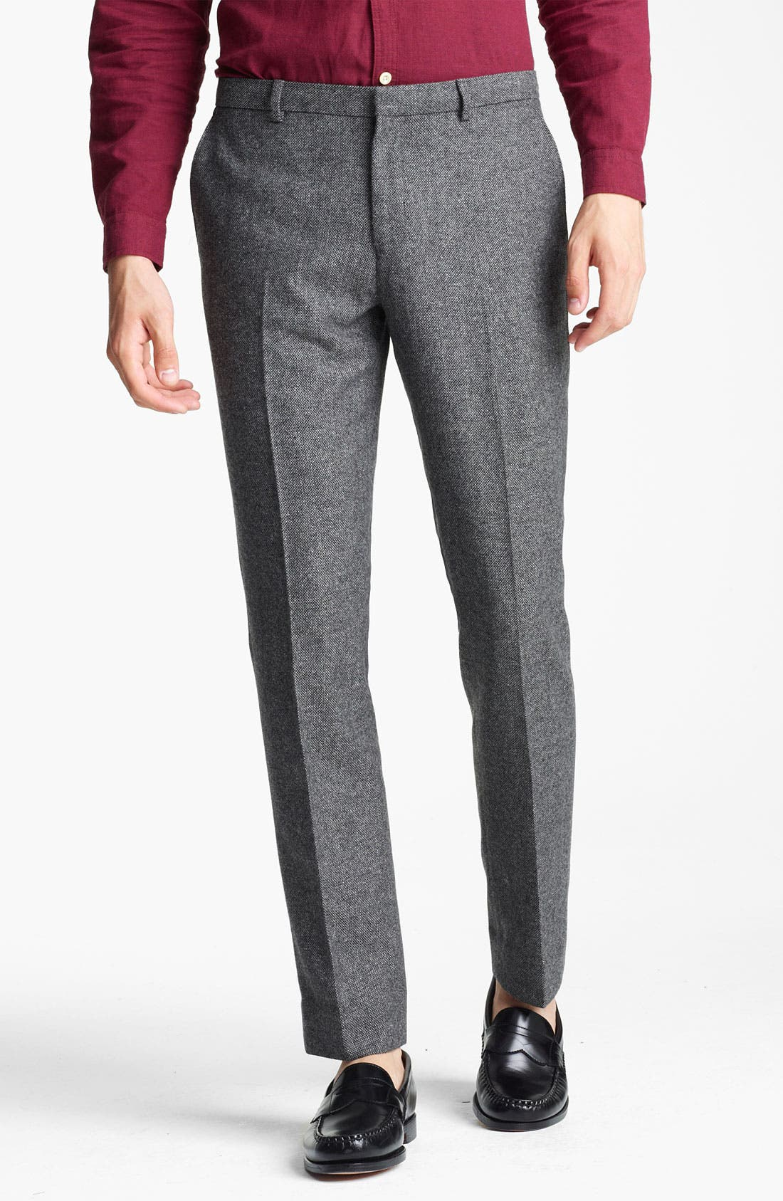 TOPMAN 'Vento' Tweed Skinny Trousers, Main, color, 020