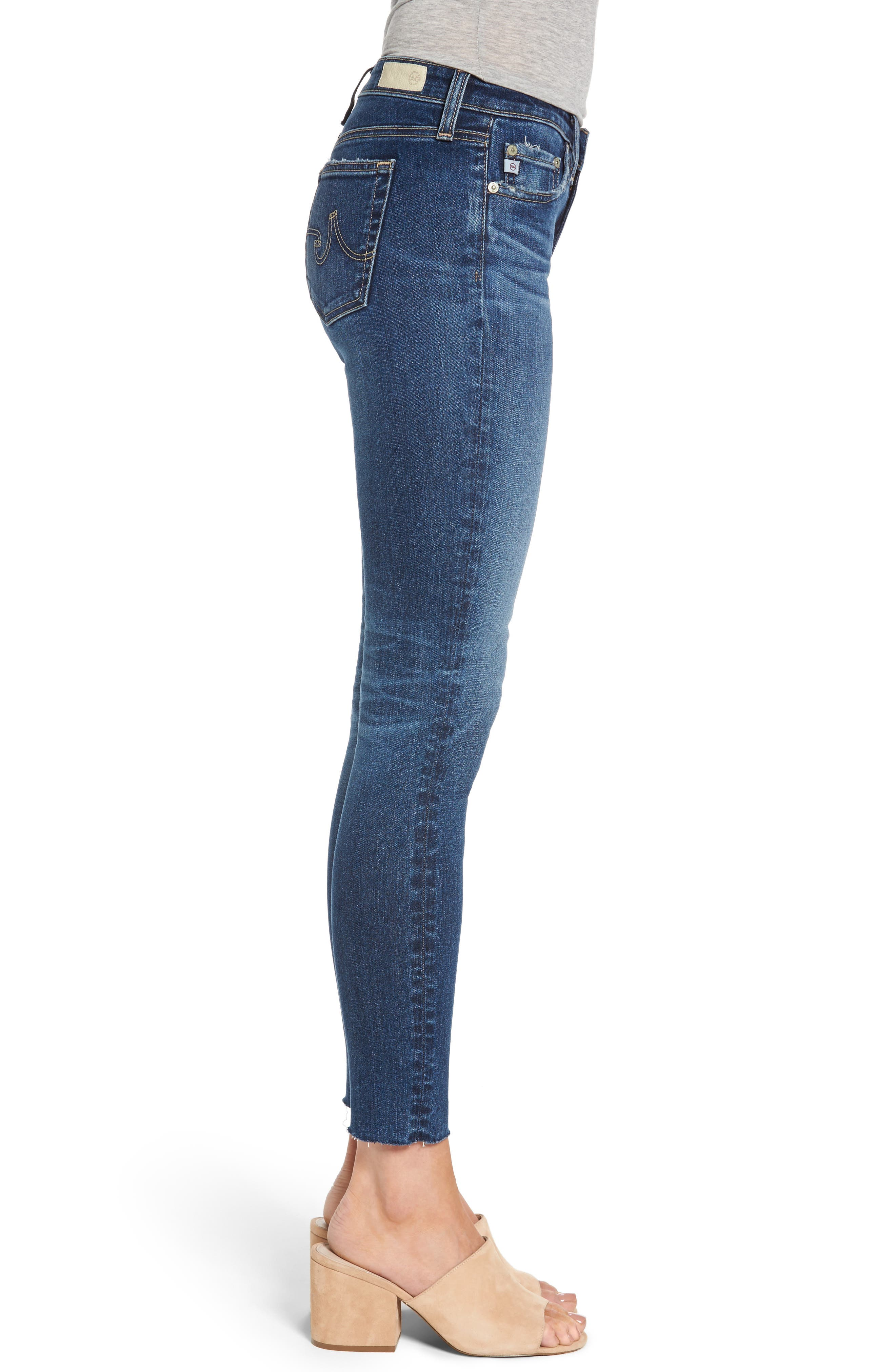 AG, The Legging Raw Hem Ankle Skinny Jeans, Alternate thumbnail 3, color, 450