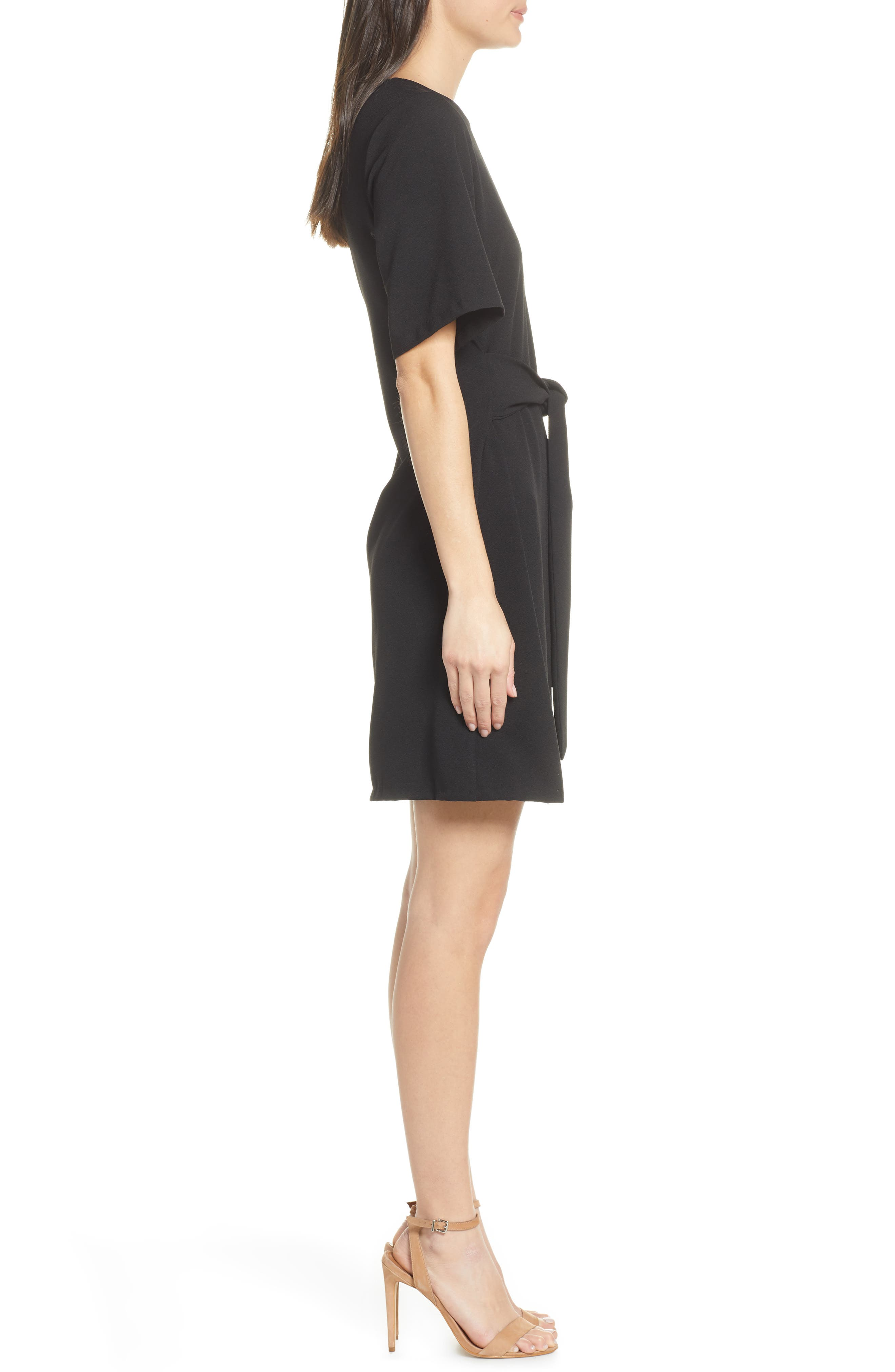 CHELSEA28, Front Tie Shift Dress, Alternate thumbnail 5, color, BLACK