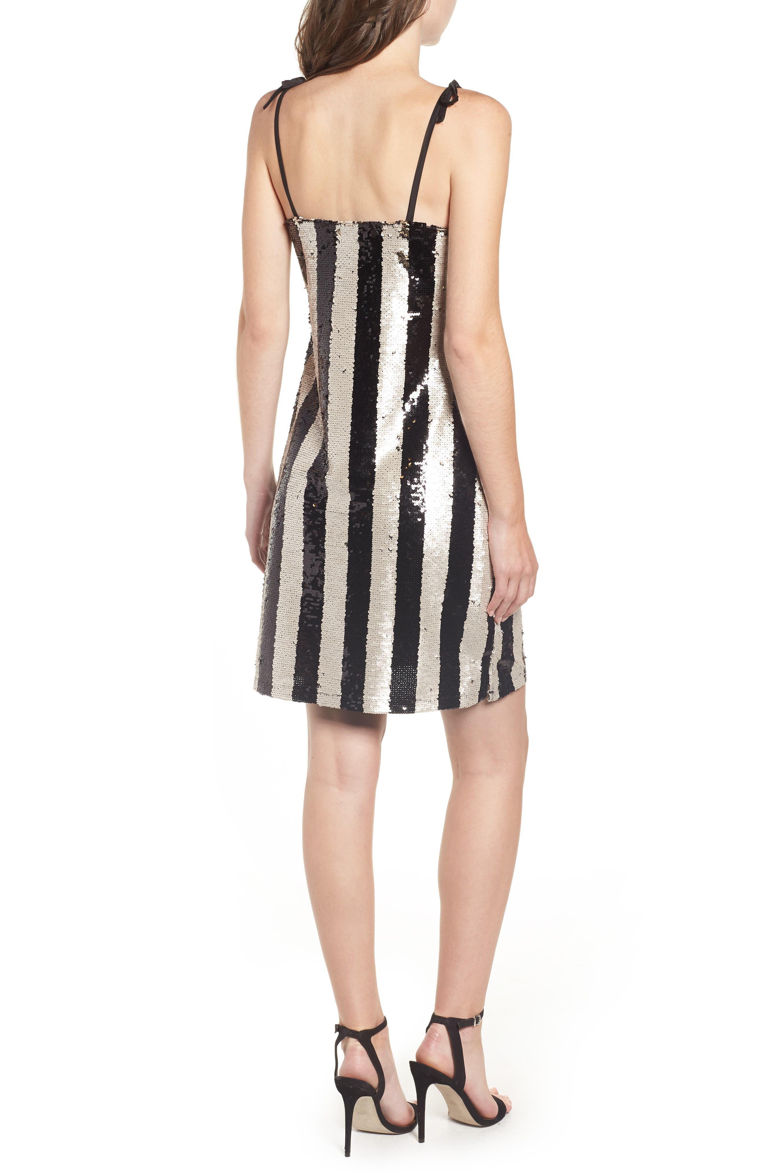CUPCAKES AND CASHMERE, Vertical Sequin Stripe Dress, Alternate thumbnail 2, color, BLACK