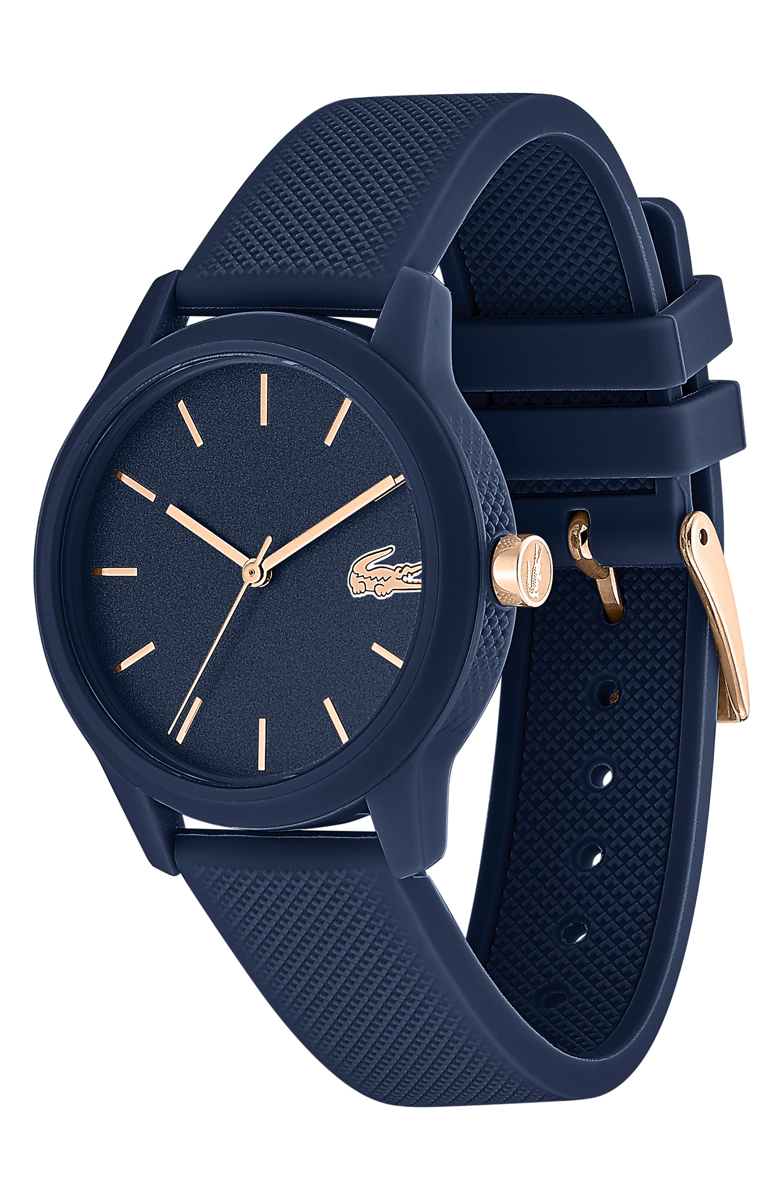 LACOSTE, 12.12 Silicone Strap Watch, 36mm, Alternate thumbnail 3, color, BLUE
