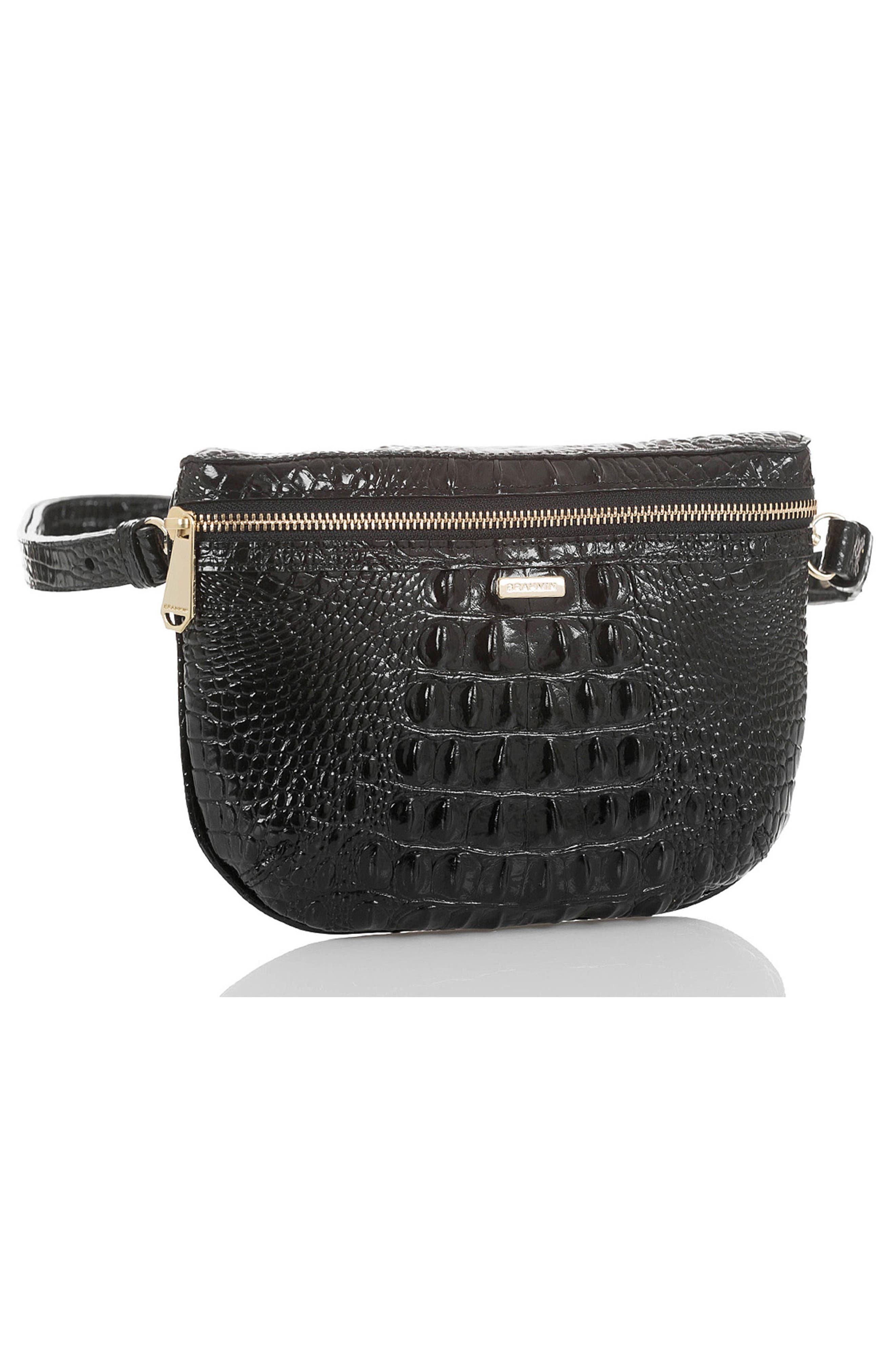 BRAHMIN, Croc Embossed Leather Belt Bag, Alternate thumbnail 6, color, BLACK