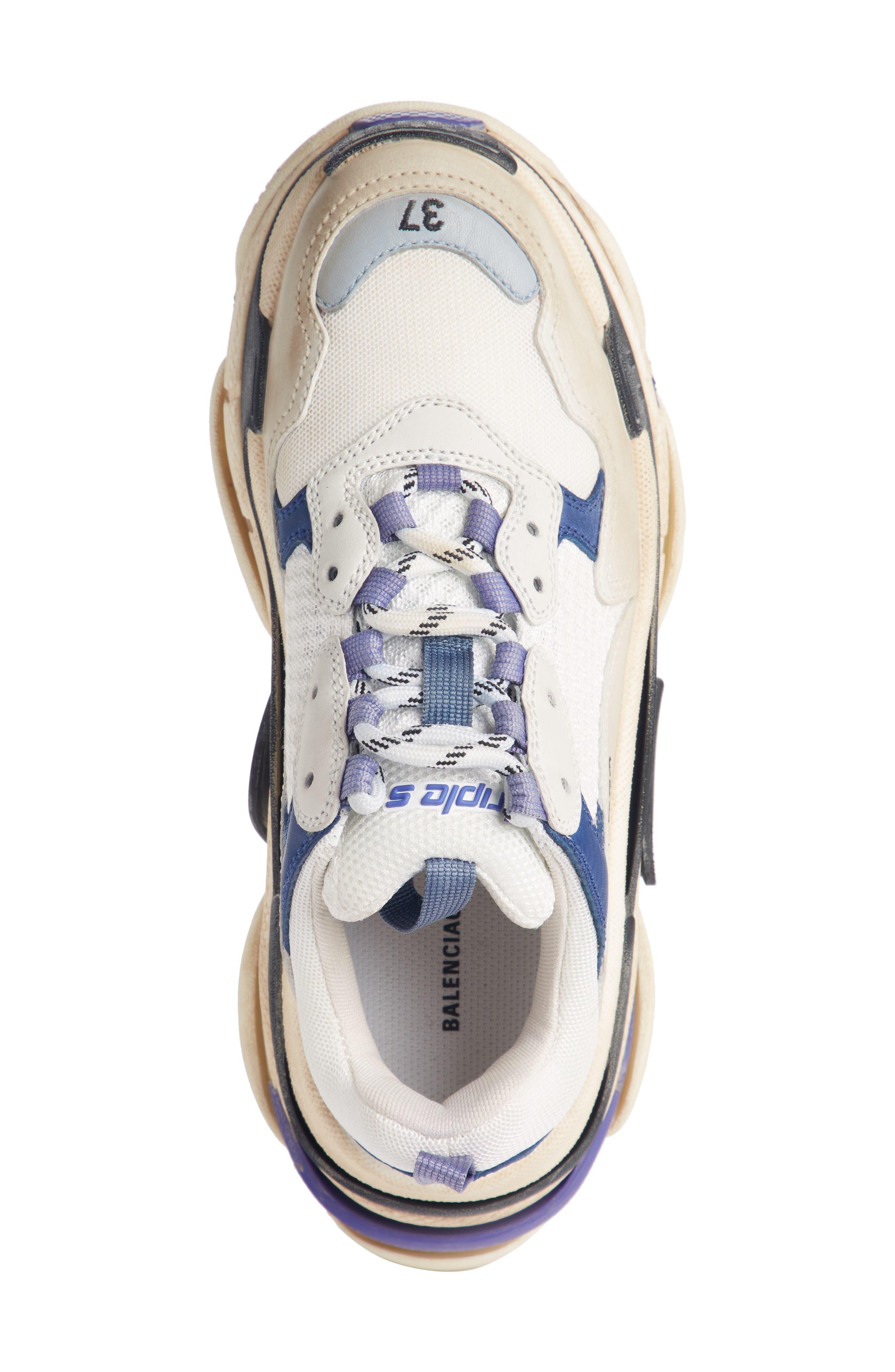 BALENCIAGA, Triple S Sneaker, Alternate thumbnail 4, color, VIOLET/ WHITE/ BLUE