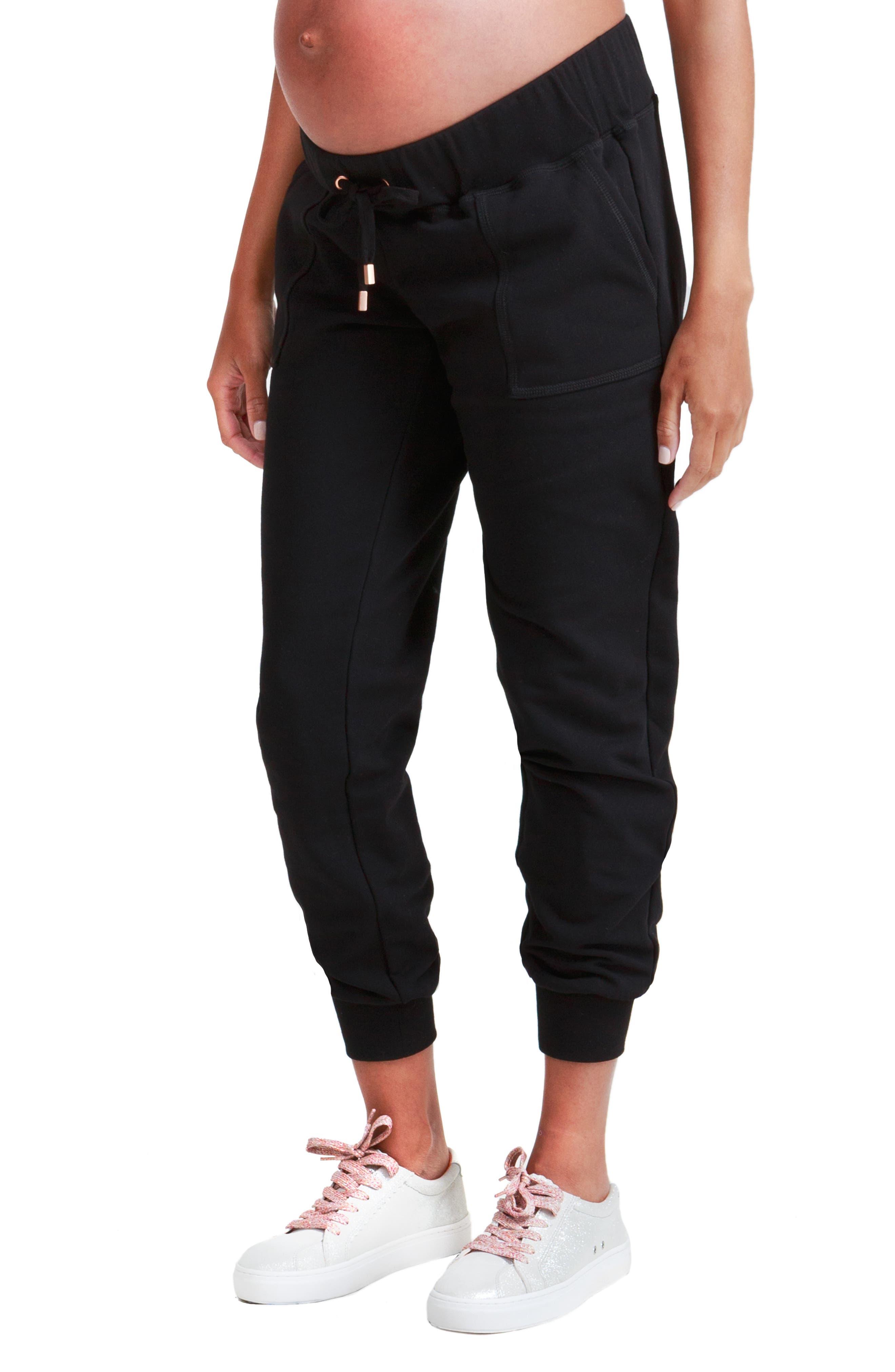 INGRID & ISABEL<SUP>®</SUP>, Knit Active Maternity Jogger Pants, Alternate thumbnail 4, color, JET BLACK