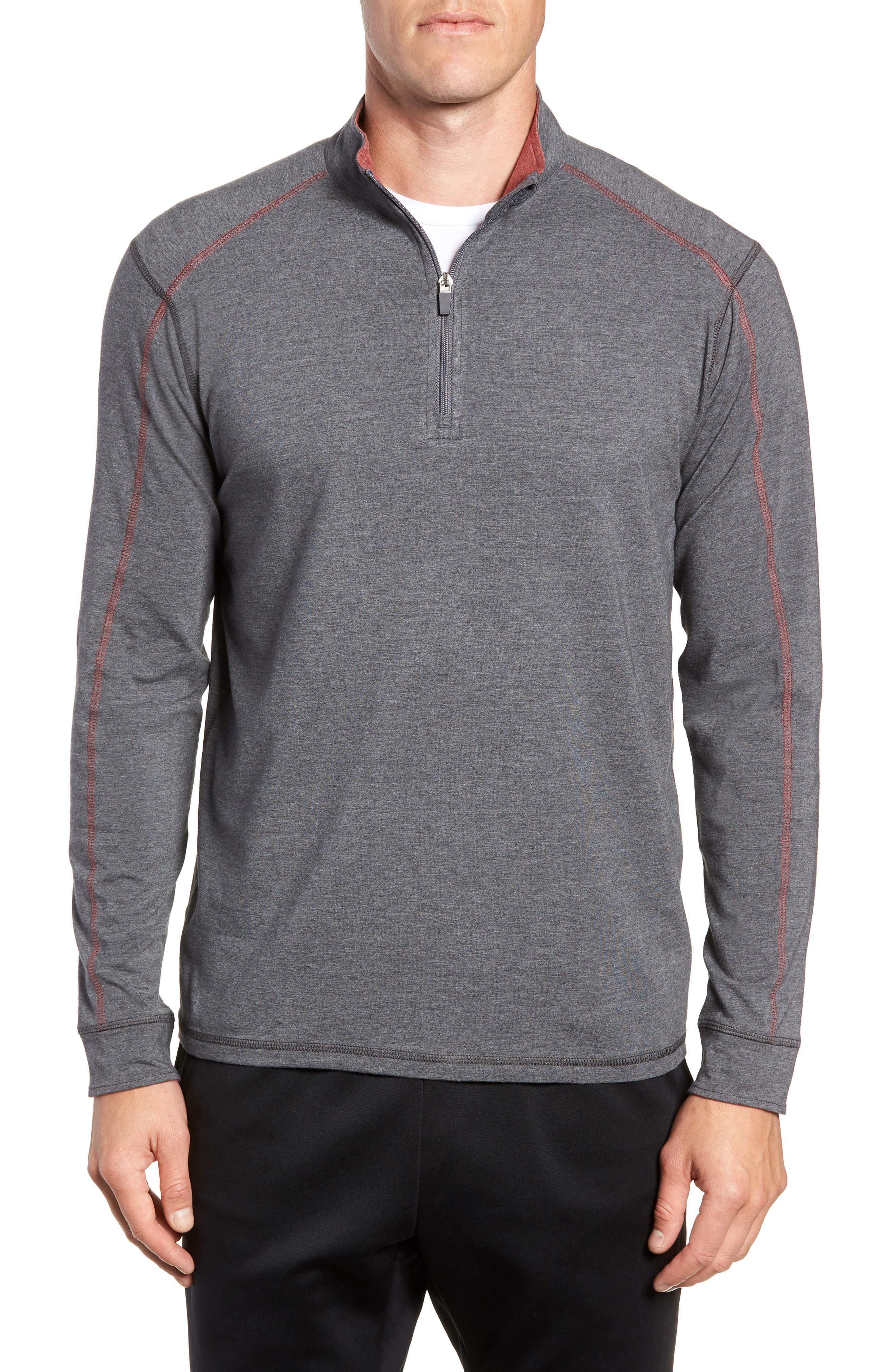 TASC PERFORMANCE, Carrollton Quarter Zip Sweatshirt, Main thumbnail 1, color, BLACK HEATHER/ MERCURY