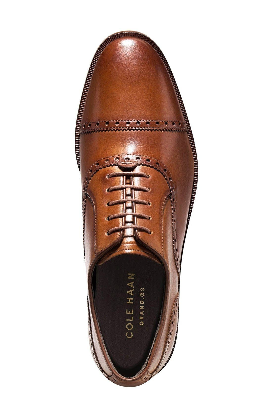 COLE HAAN, 'Hamilton' Cap Toe Oxford, Alternate thumbnail 3, color, BRITISH TAN LEATHER
