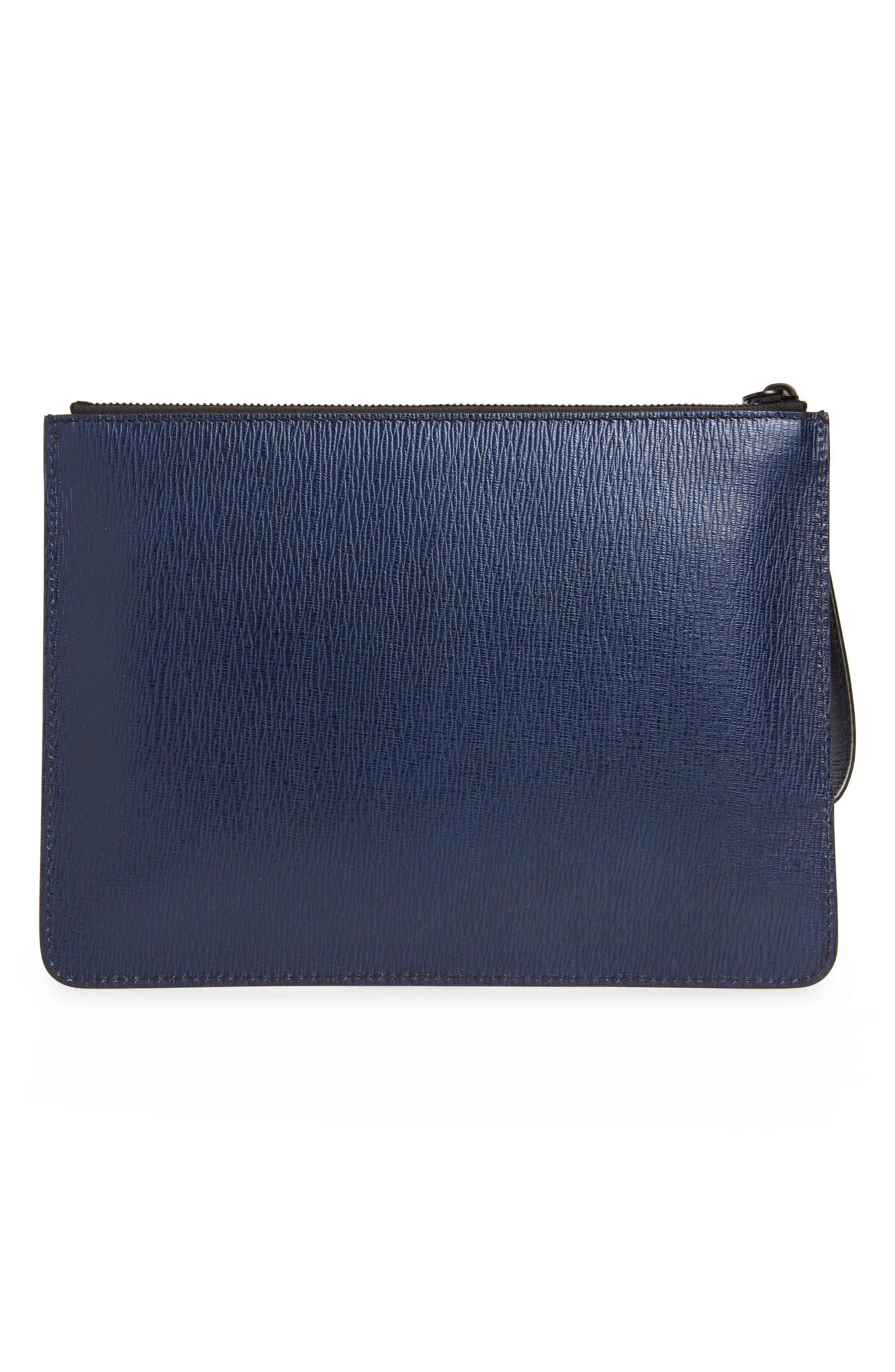 SALVATORE FERRAGAMO, Textured Leather Zip Pouch, Alternate thumbnail 2, color, NAVY