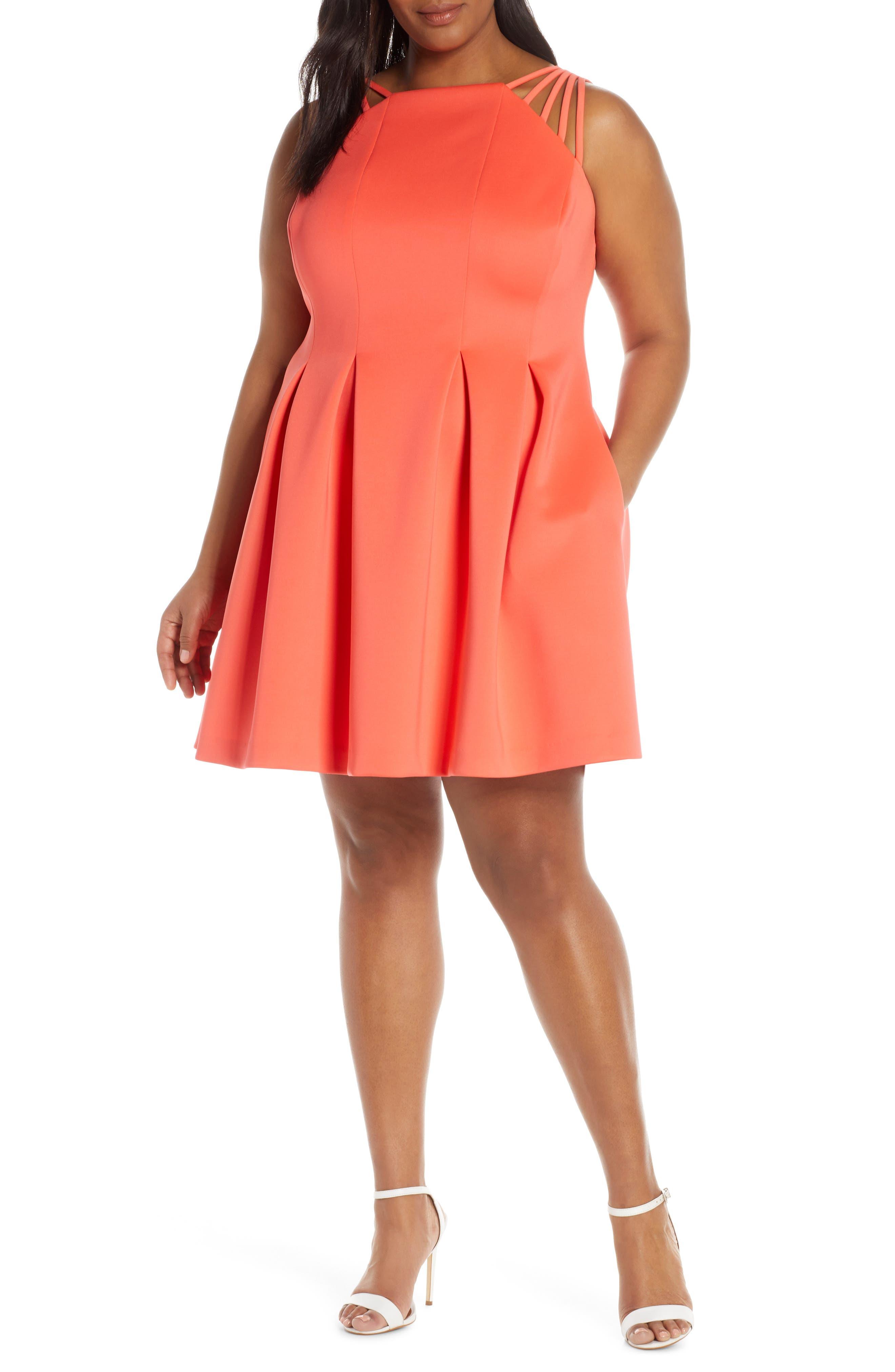 Plus Size Vince Camuto Fit & Flare Scuba Dress, Coral