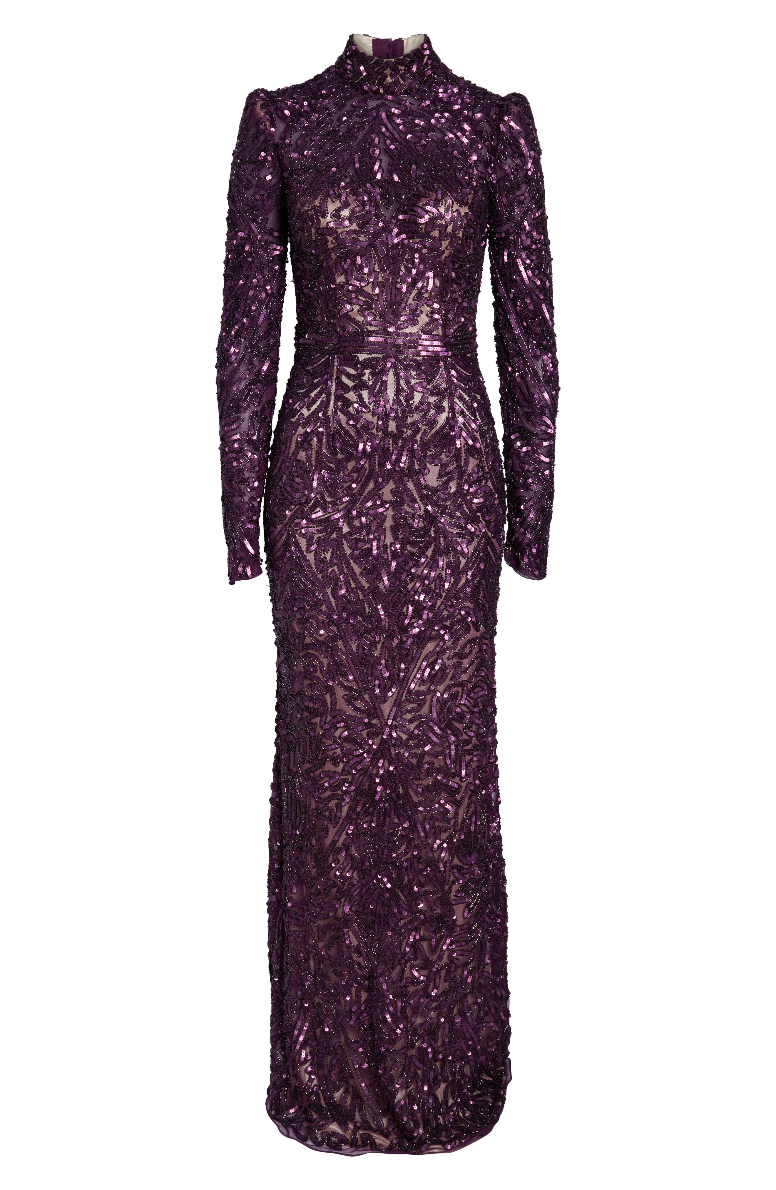 MAC DUGGAL, High Neck Sequin Gown with Train, Alternate thumbnail 7, color, AUBERGINE